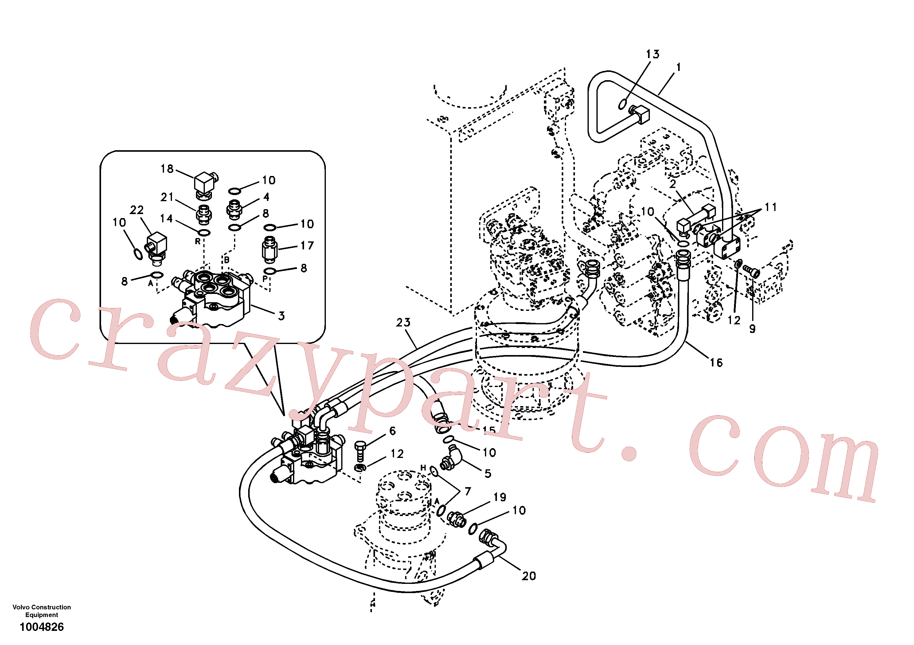 SA9419-11030 for Volvo Working hydraulic, dozer blade(1004826 assembly)