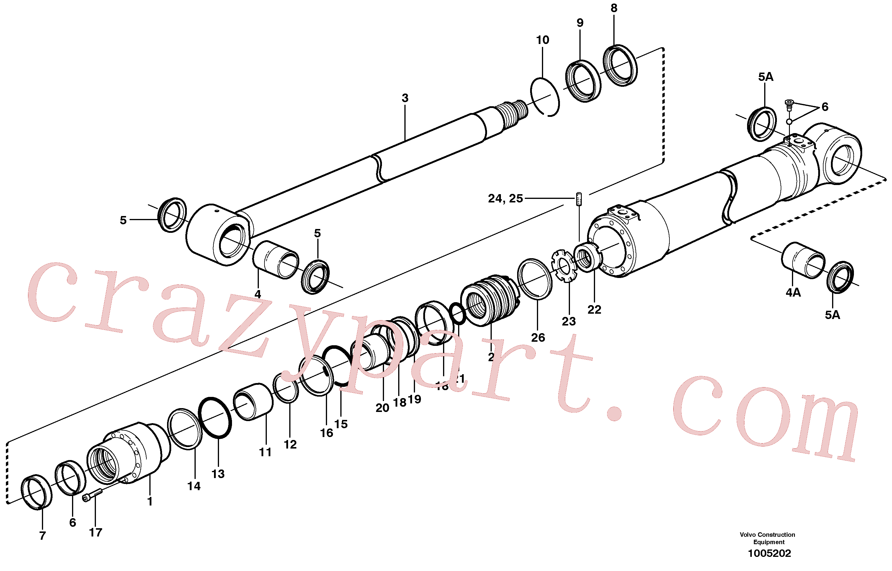 SA9564-20750 for Volvo Bucket cylinder, Boom cylinder(1005202 assembly)