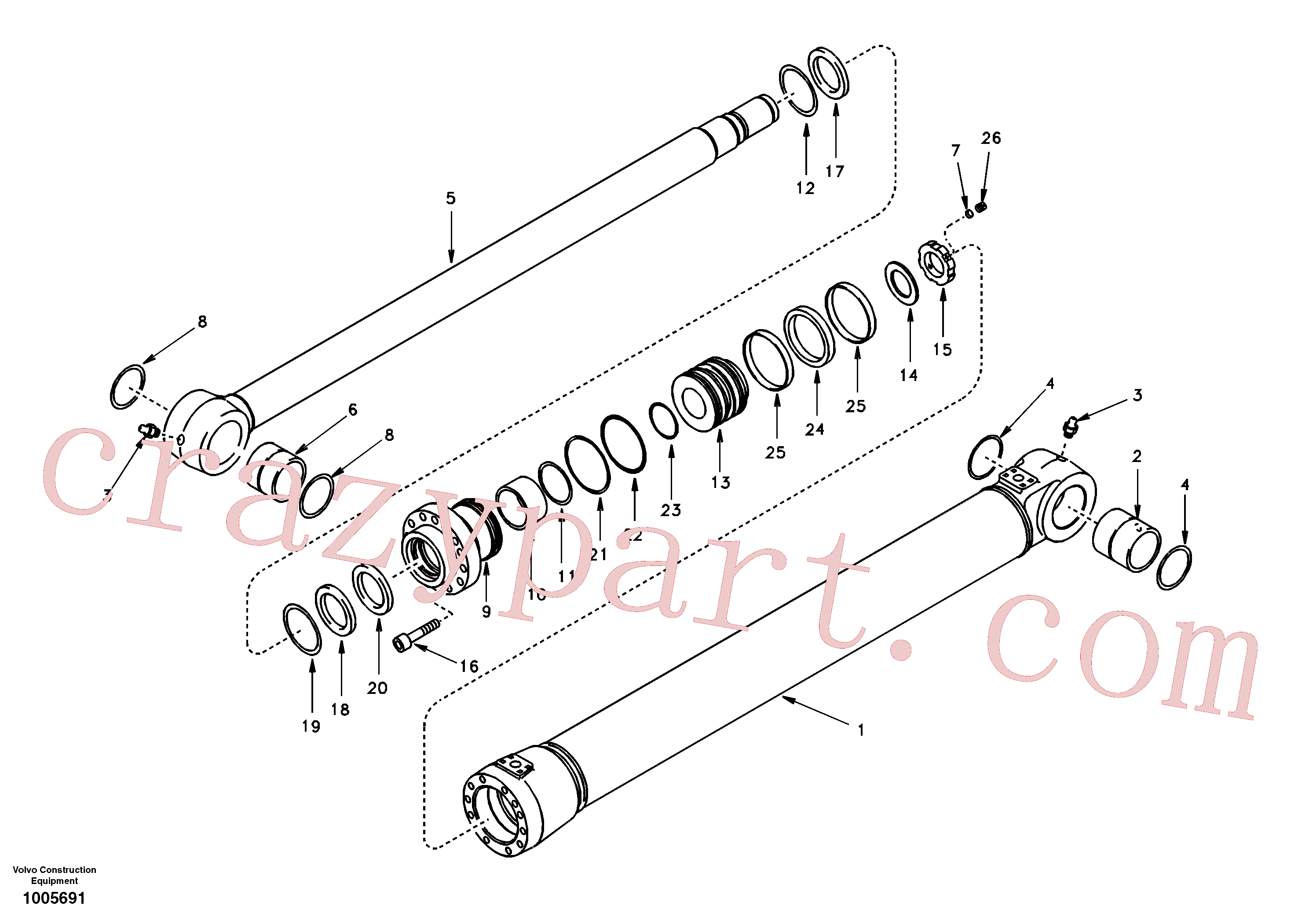 SA1146-08010 for Volvo Boom cylinder 2nd boom(1005691 assembly)