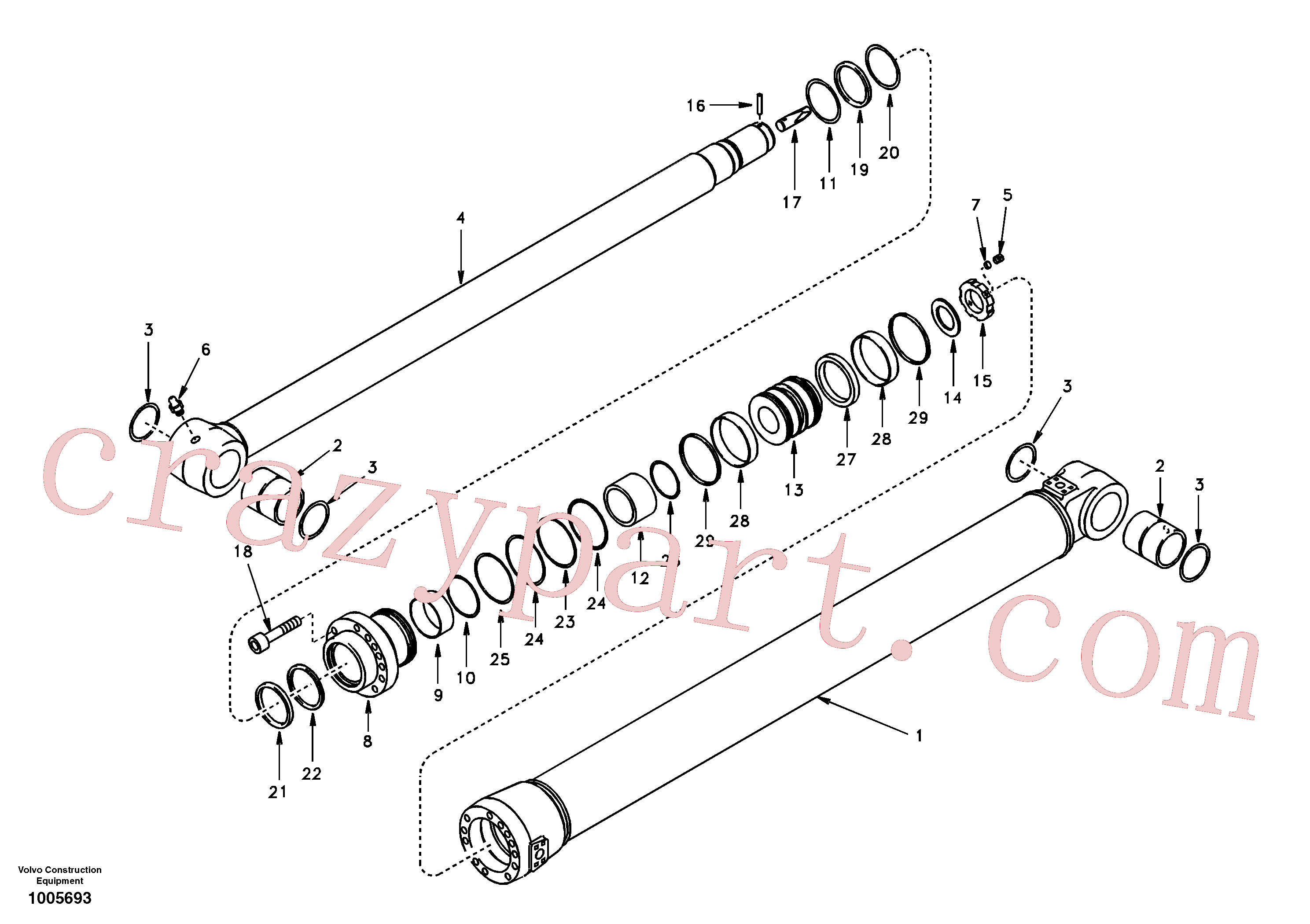 SA8148-10061 for Volvo Dipper arm cylinder(1005693 assembly)