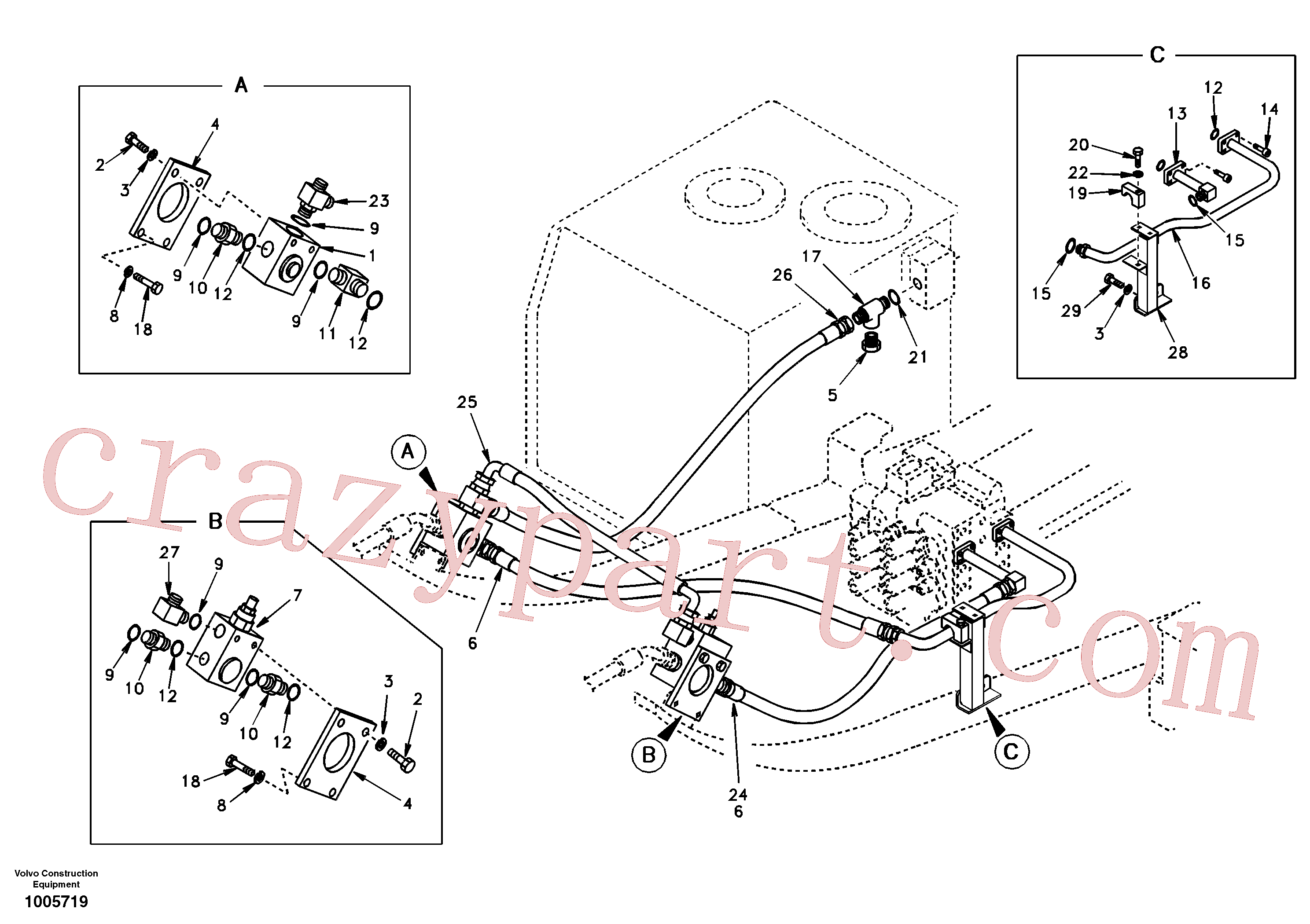 SA9419-21050 for Volvo Working hydraulic, hammer and shear for upper(1005719 assembly)