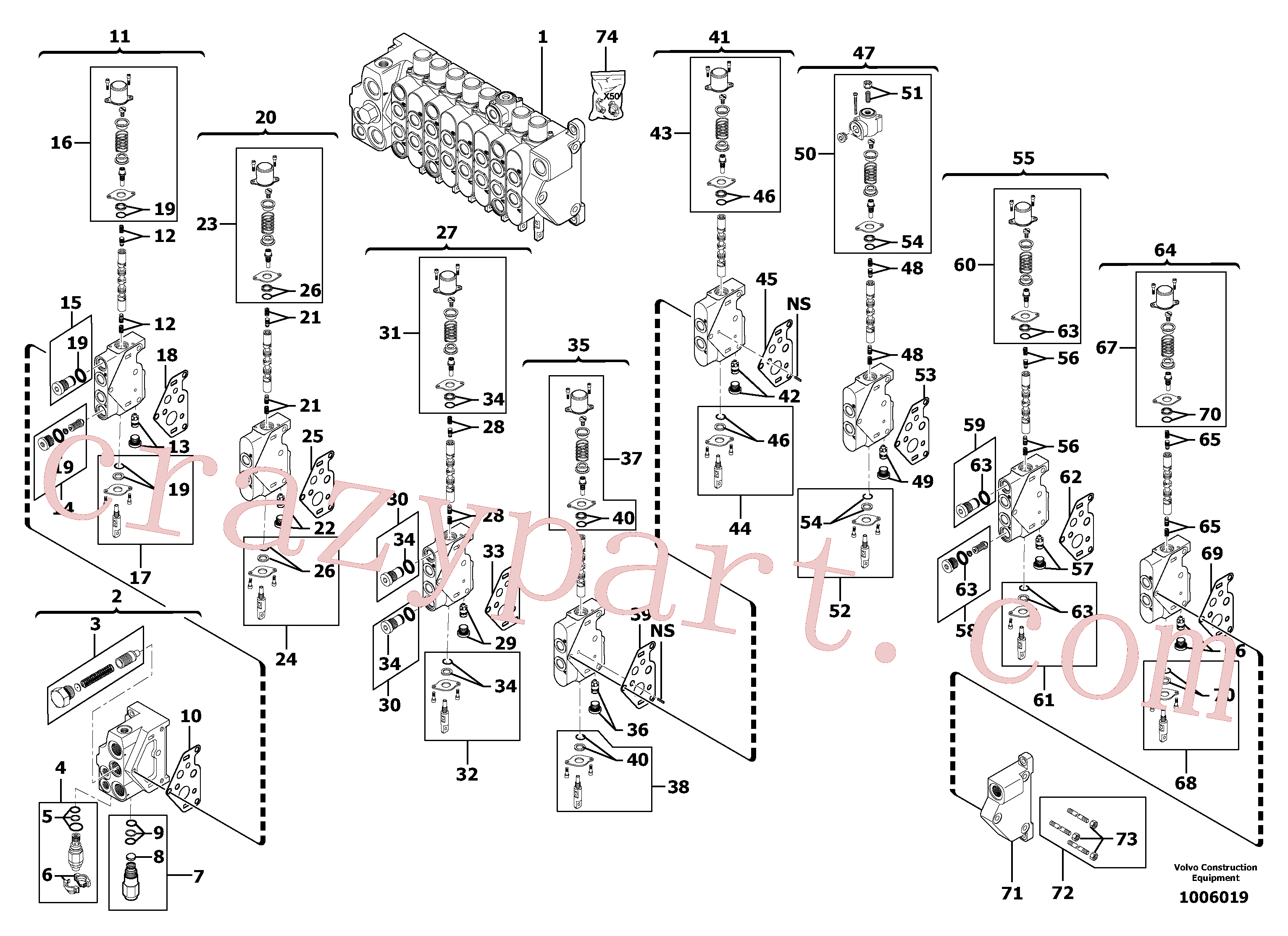 VOE11710926 for Volvo Control valve : 8 spools(1006019 assembly)