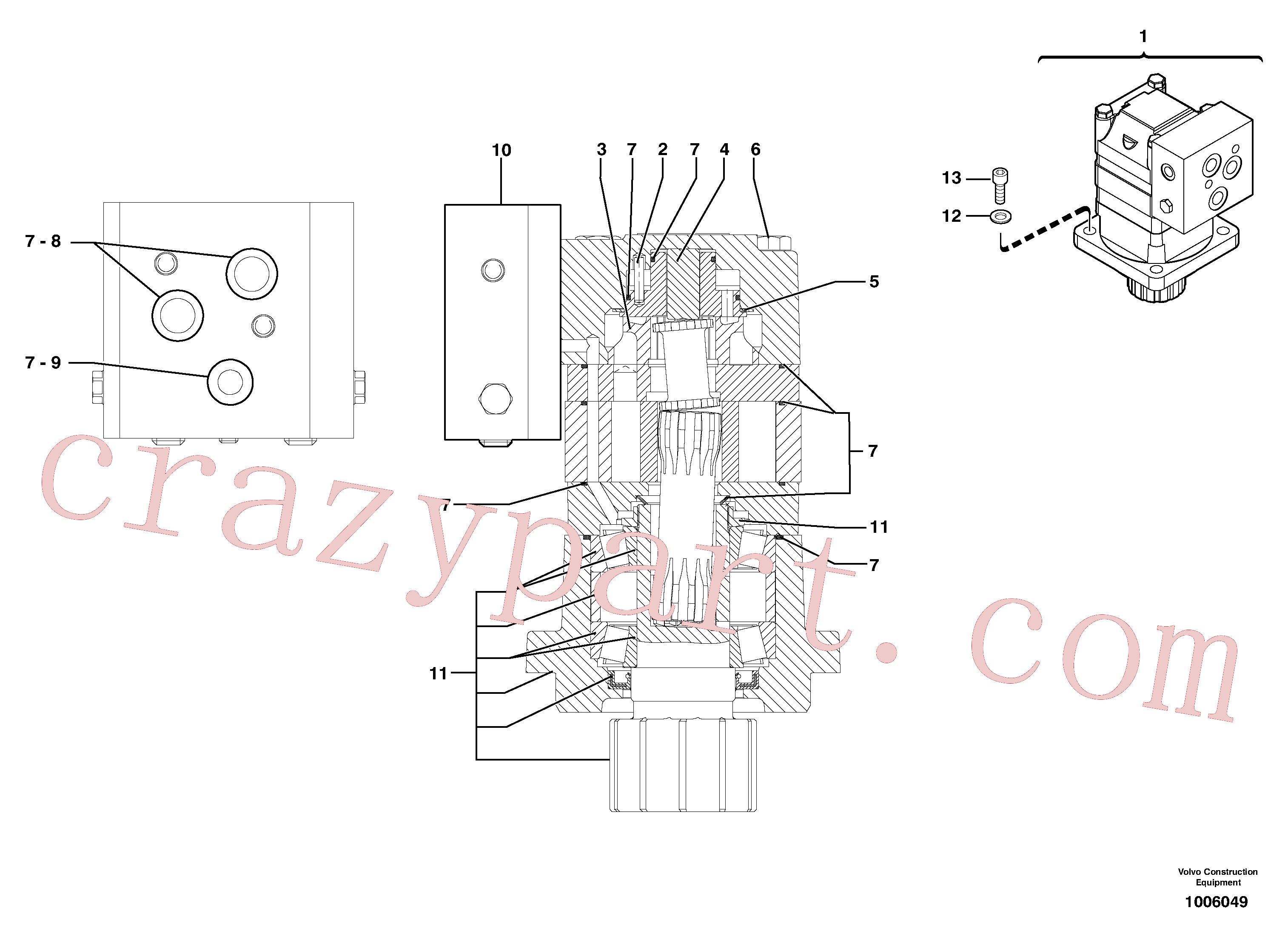 PJ7416848 for Volvo Slewing gear motor(1006049 assembly)