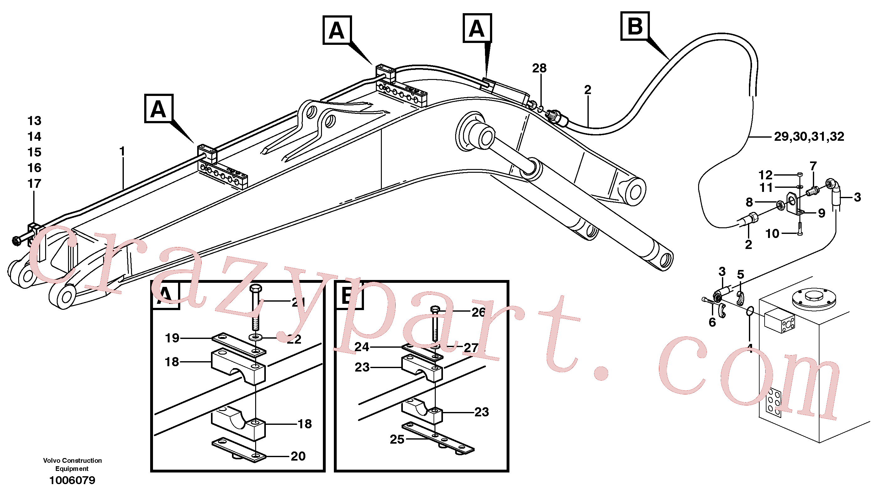 VOE14372162 for Volvo Hammer hydraulics on mono boom, return line(1006079 assembly)