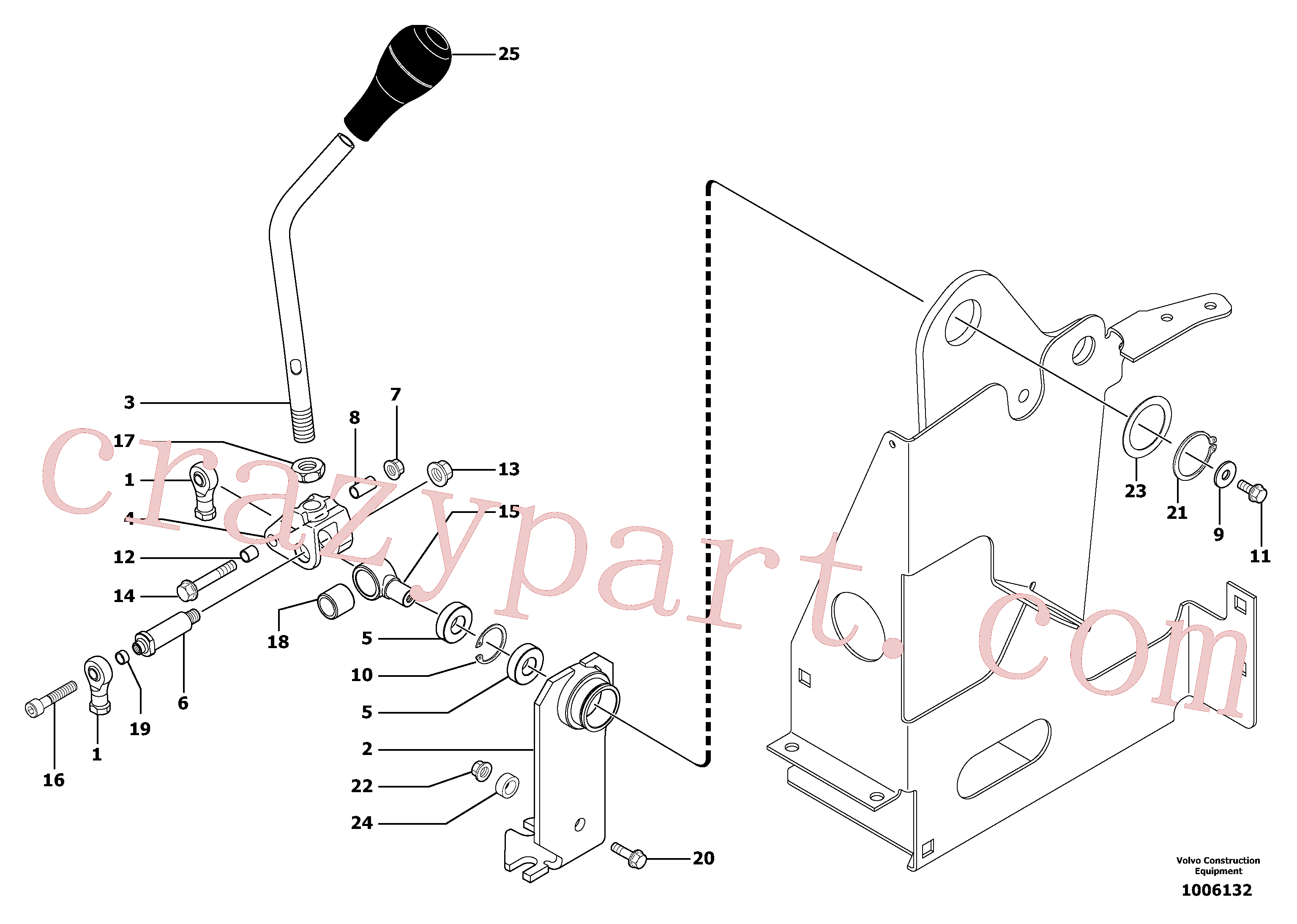 VOE11805072 for Volvo Control lever : boom / bucket ( right )(1006132 assembly)
