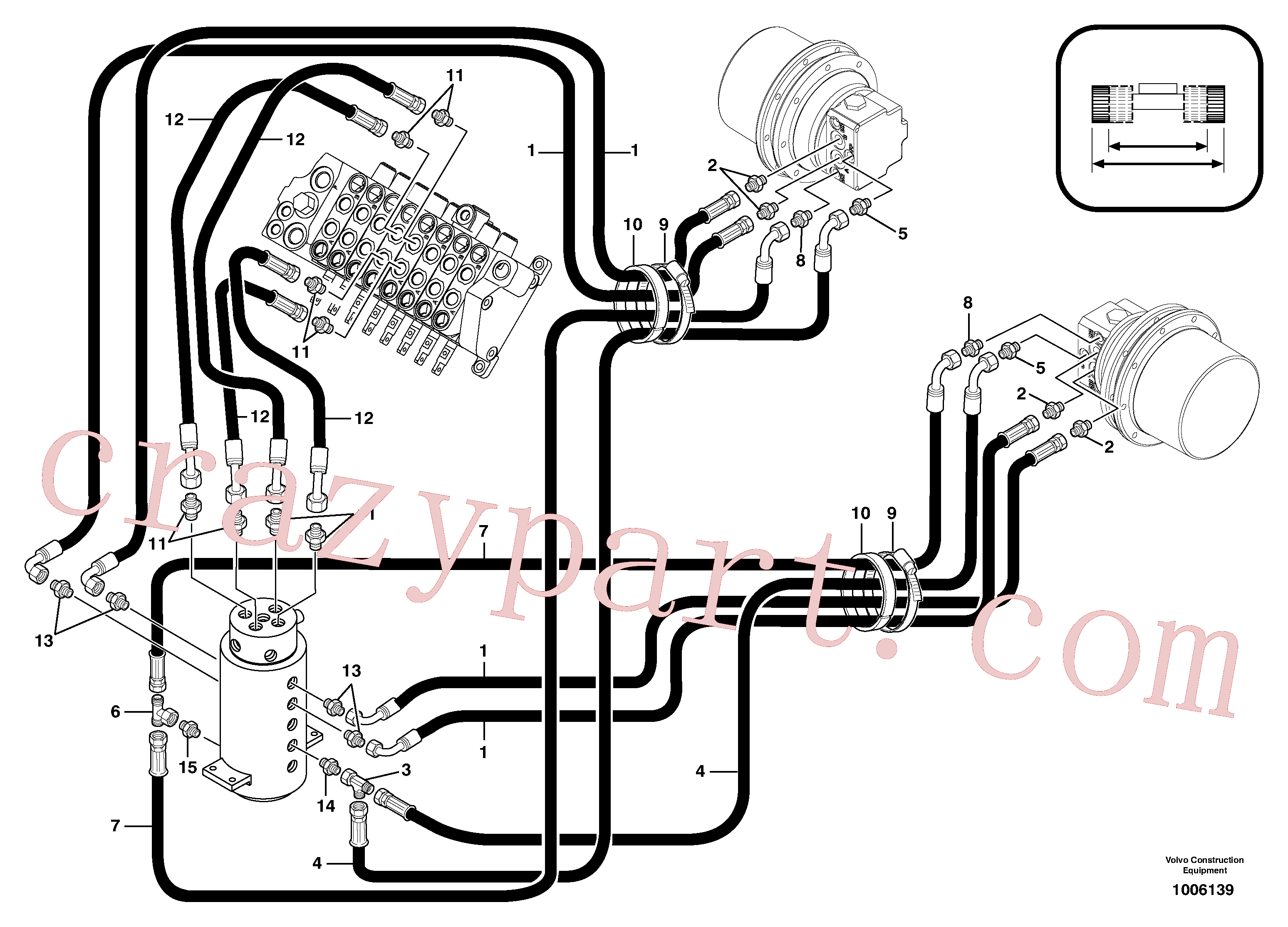 VOE11806399 for Volvo Hydr. circuit. ( travelling ) variable track(1006139 assembly)