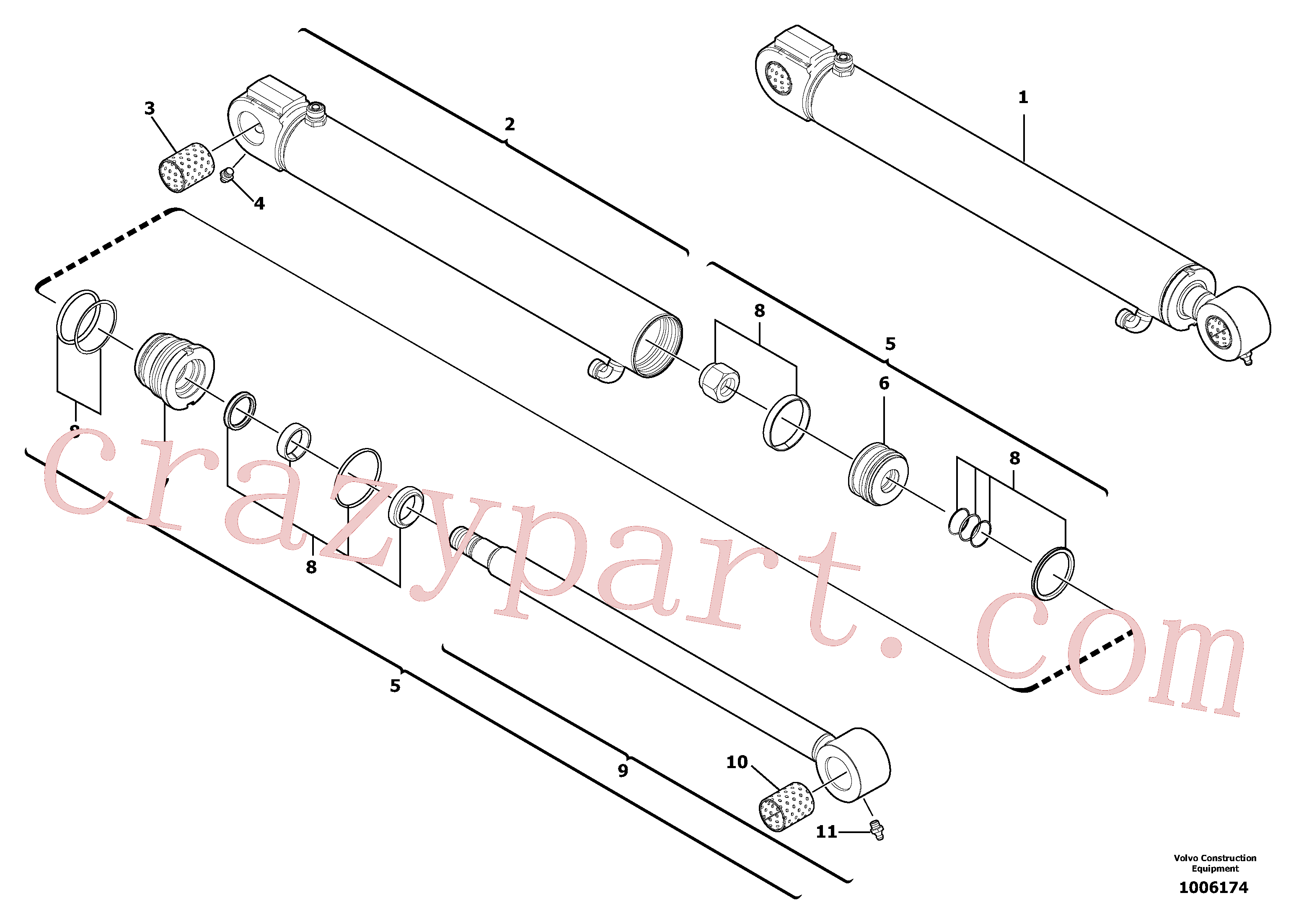 VOE11711123 for Volvo Boom offset cylinder(1006174 assembly)
