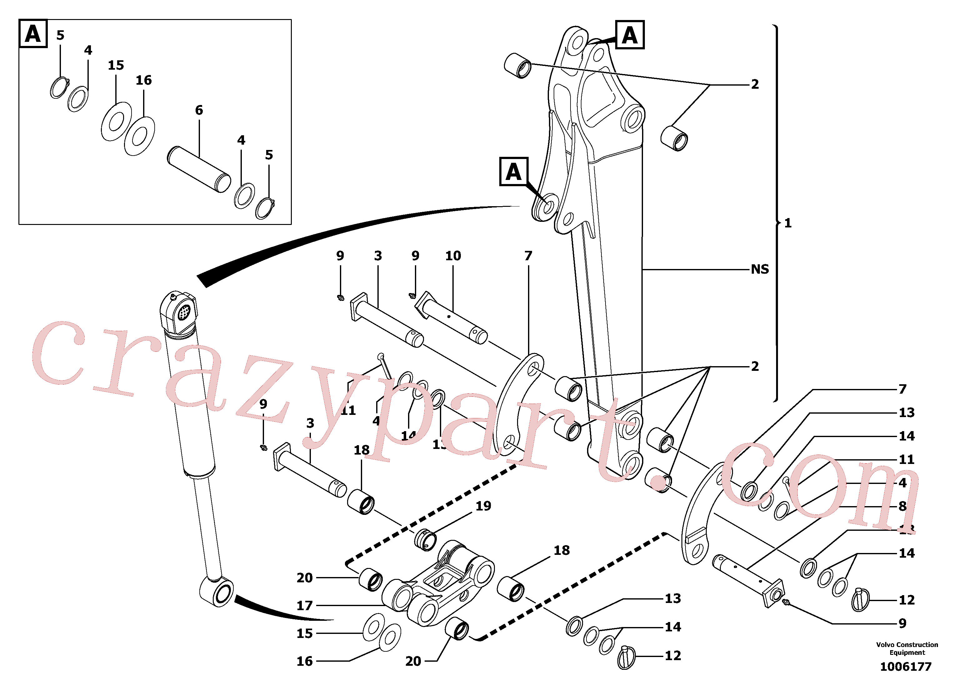 PJ4090005 for Volvo Dipper arm(1006177 assembly)