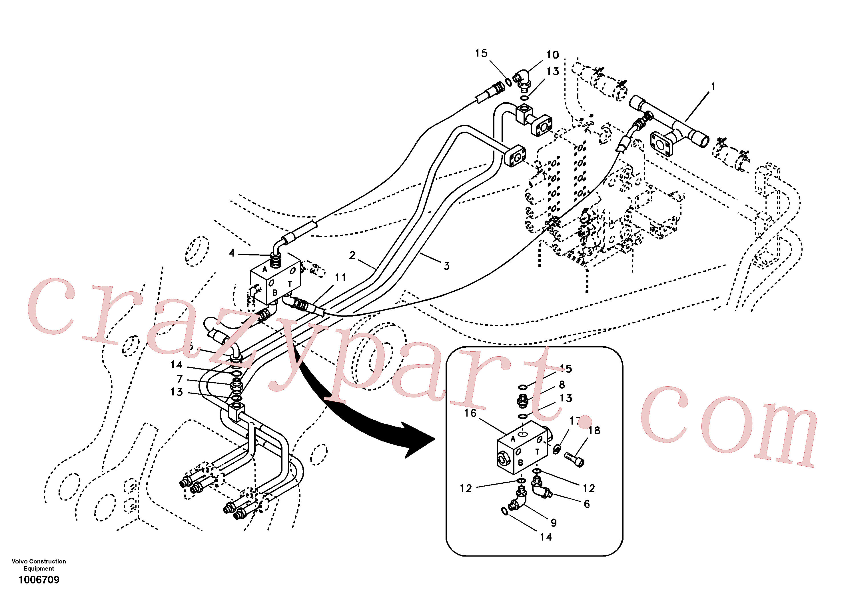 VOE14516734 for Volvo Hydraulic system, control valve to boom and swing(1006709 assembly)