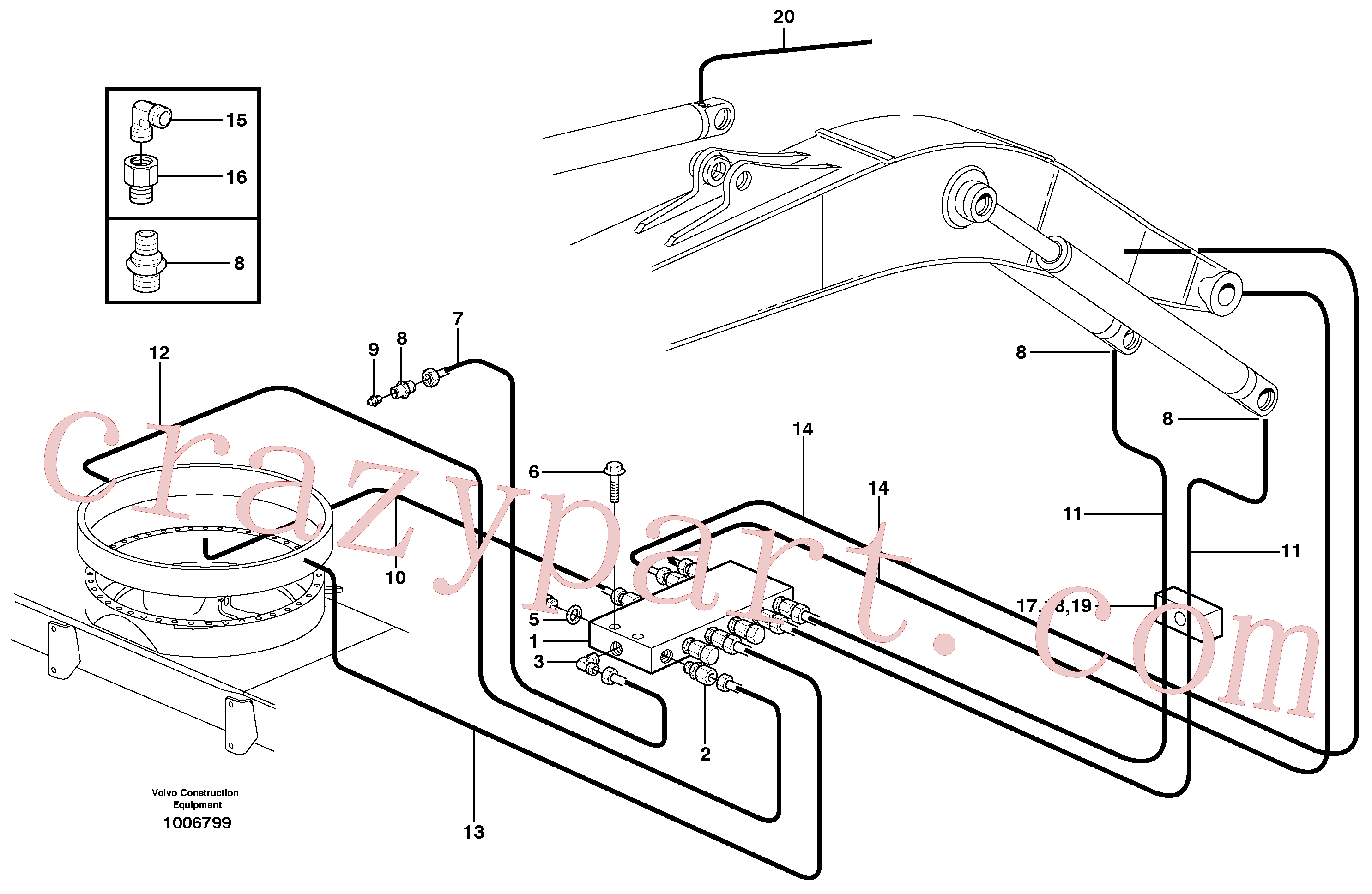 VOE11706653 for Volvo Central lubrication. slewing, mono boom(1006799 assembly)