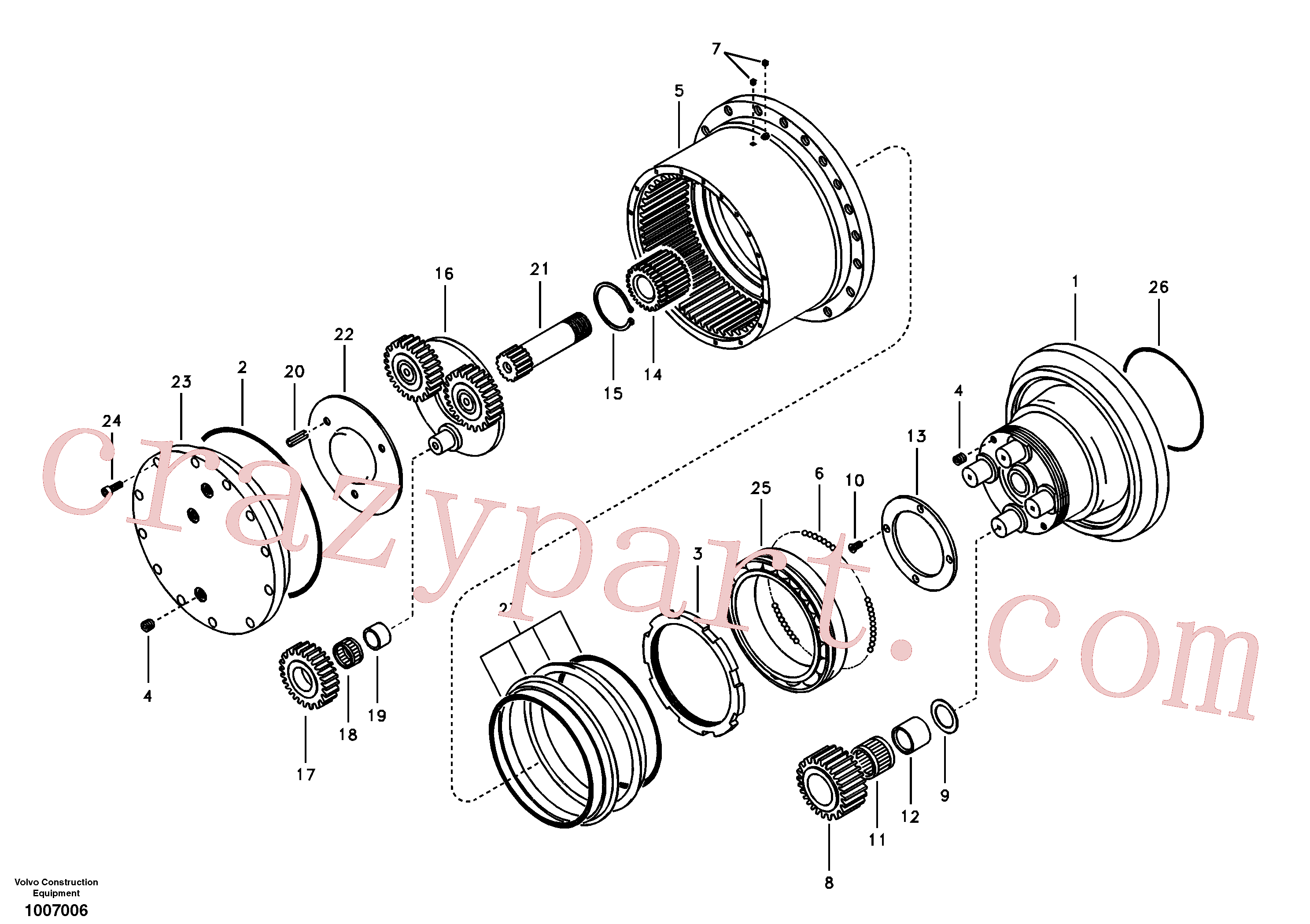 VOE14505058 for Volvo Travel gearbox(1007006 assembly)