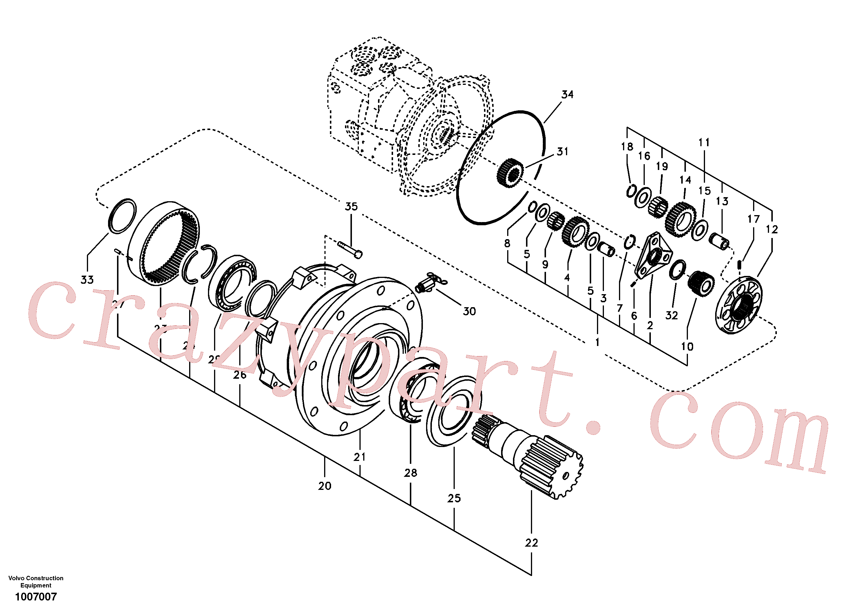 VOE14503933 for Volvo Swing gearbox(1007007 assembly)