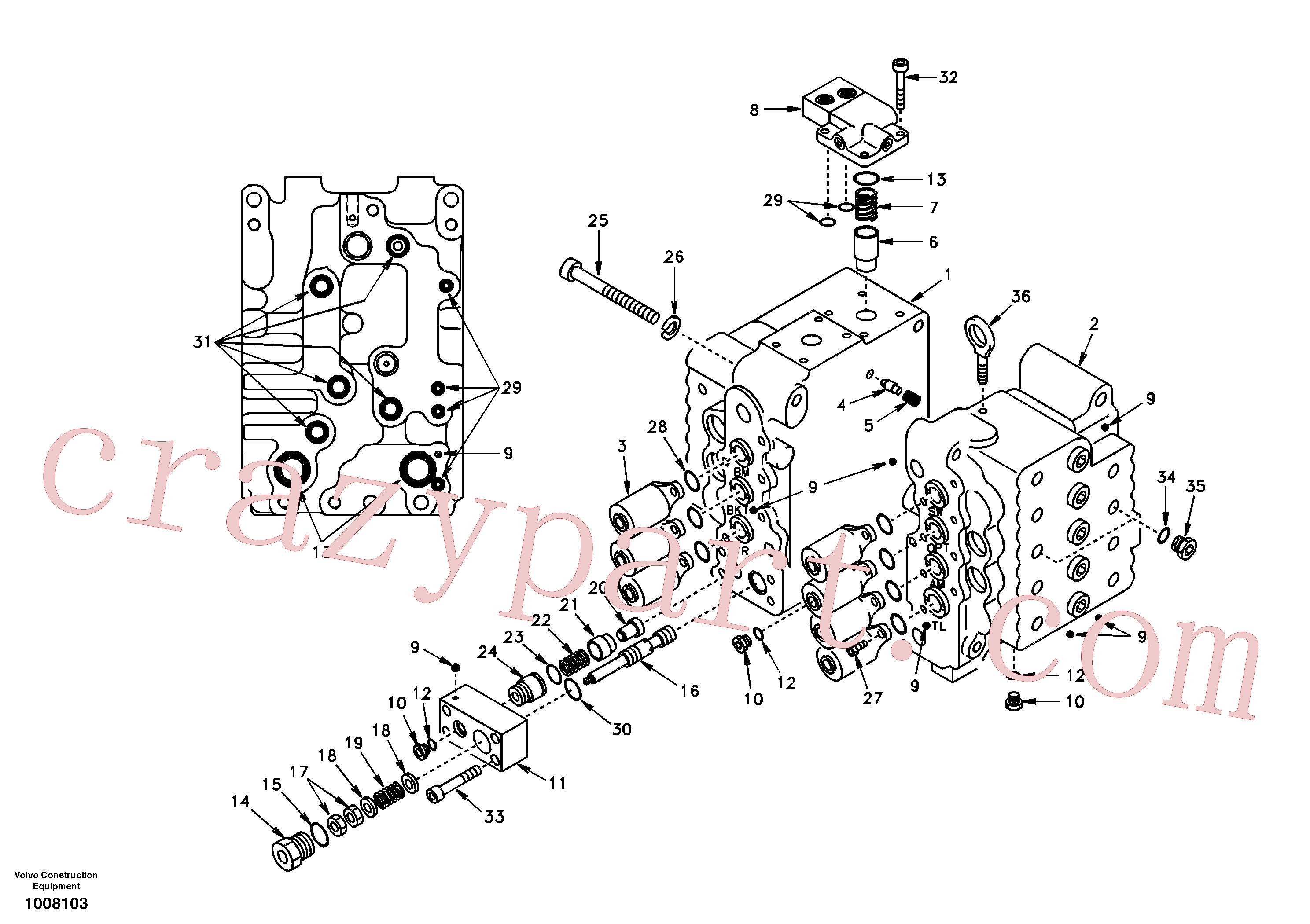 SA7273-11030 for Volvo Control valve with fitting parts.(1008103 assembly)
