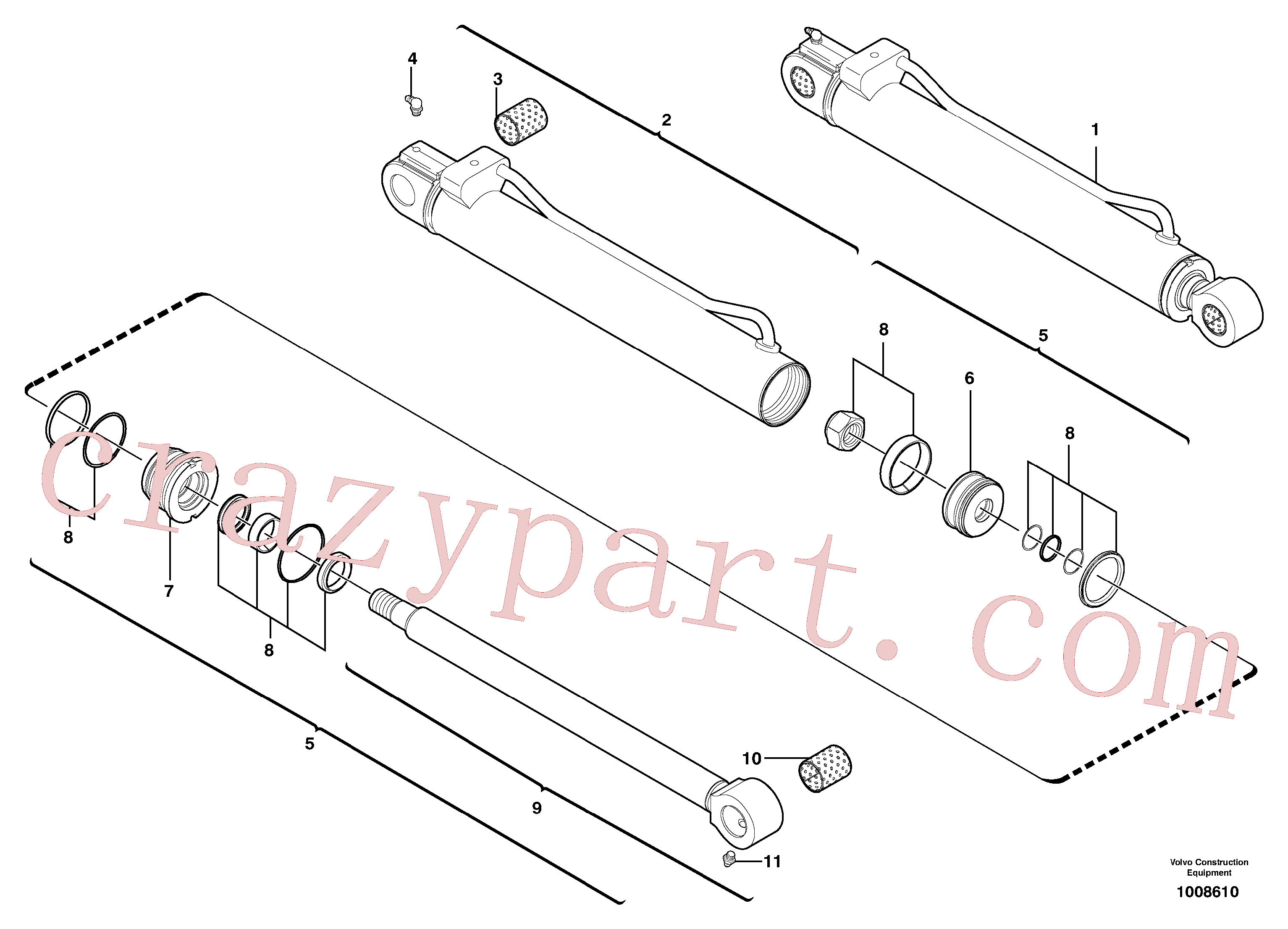 VOE11988472 for Volvo Dipper arm cylinder(1008610 assembly)