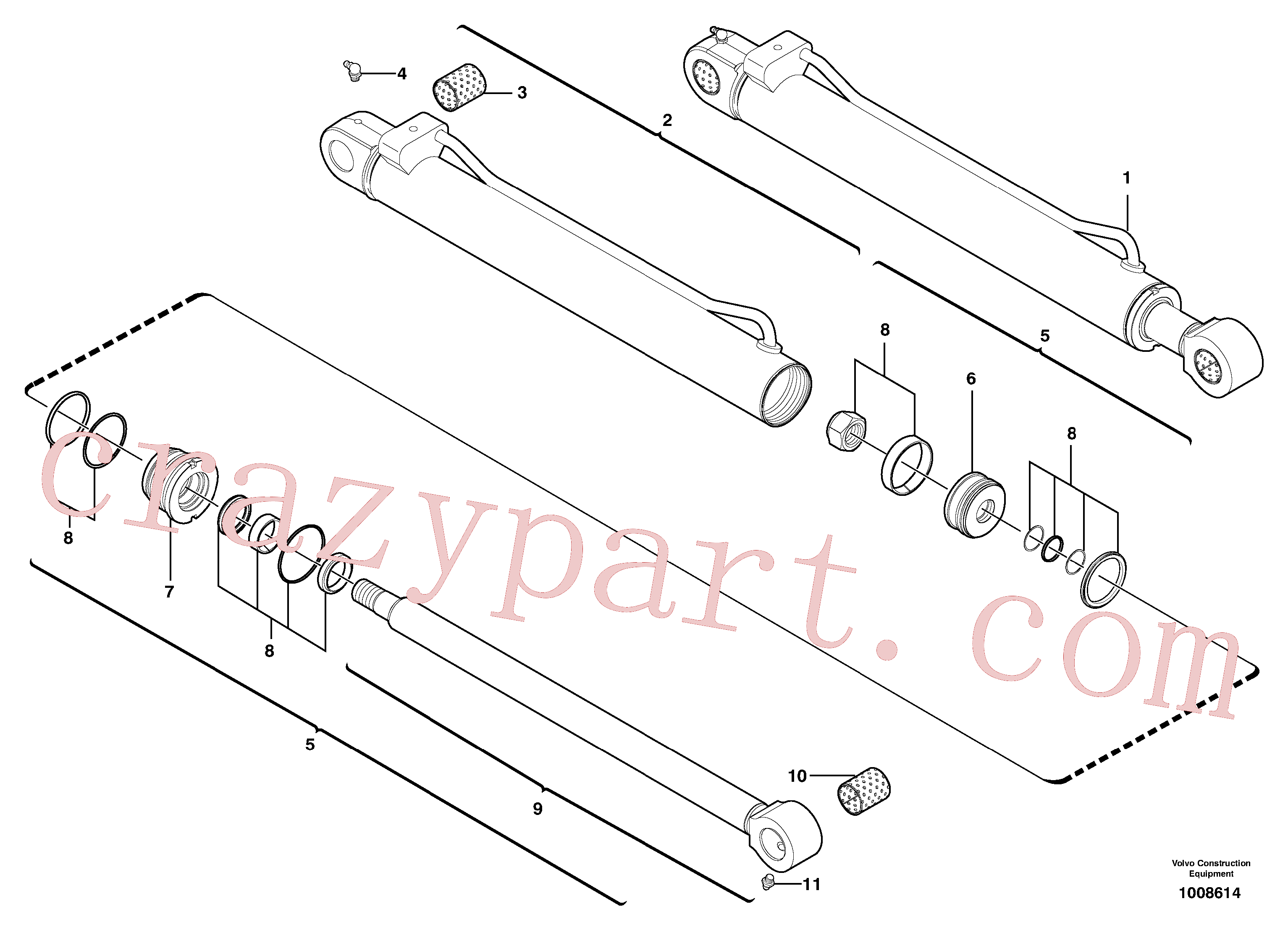 VOE15174598 for Volvo Dipper arm cylinder(1008614 assembly)