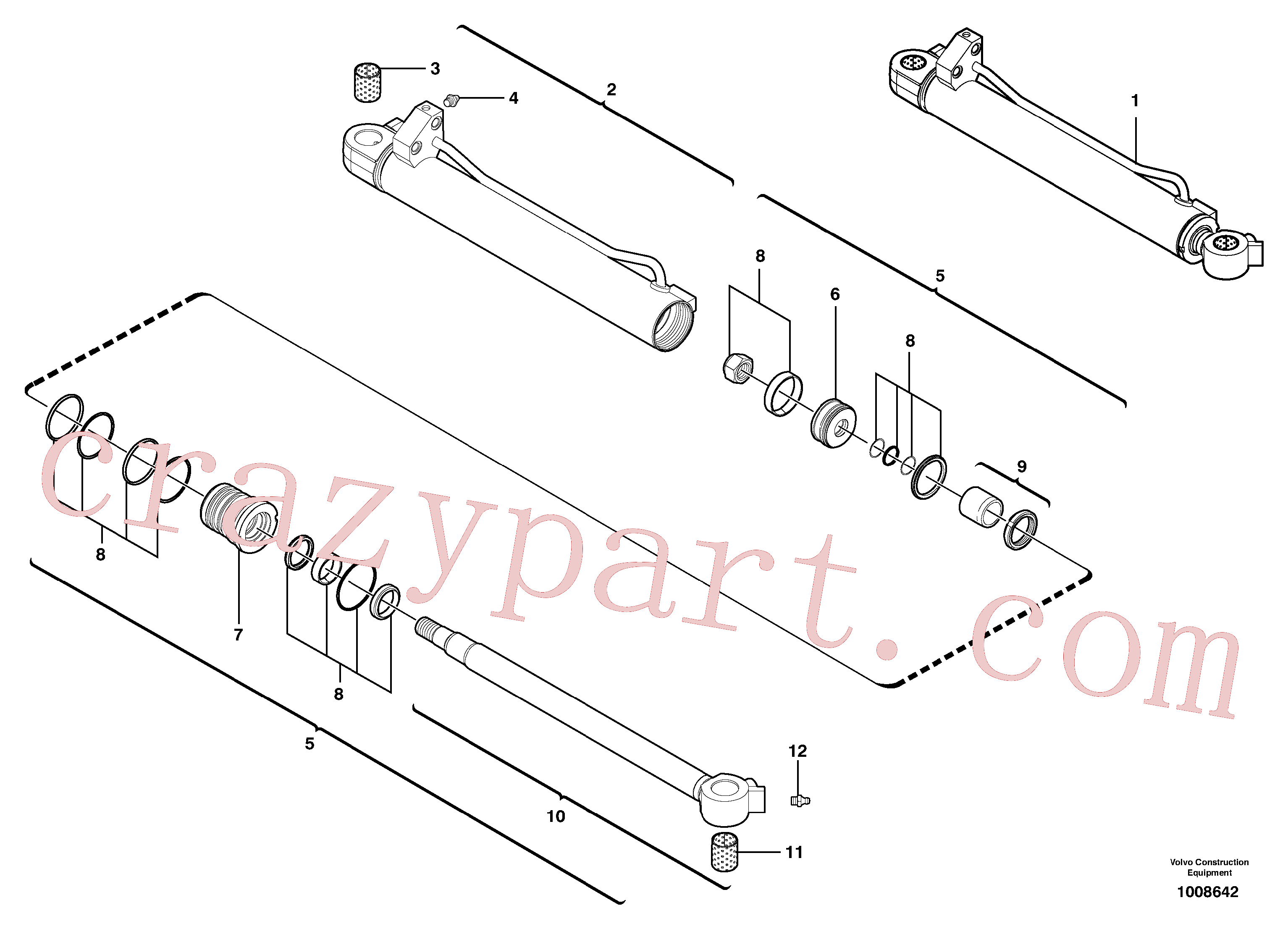 VOE11988180 for Volvo Boom cylinder(1008642 assembly)