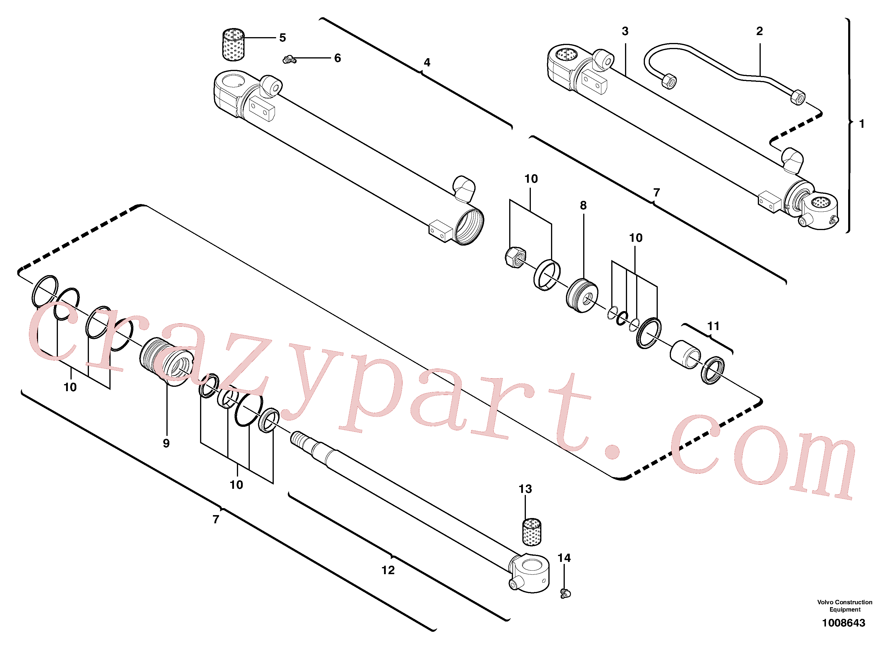 VOE11988180 for Volvo Boom cylinder(1008643 assembly)