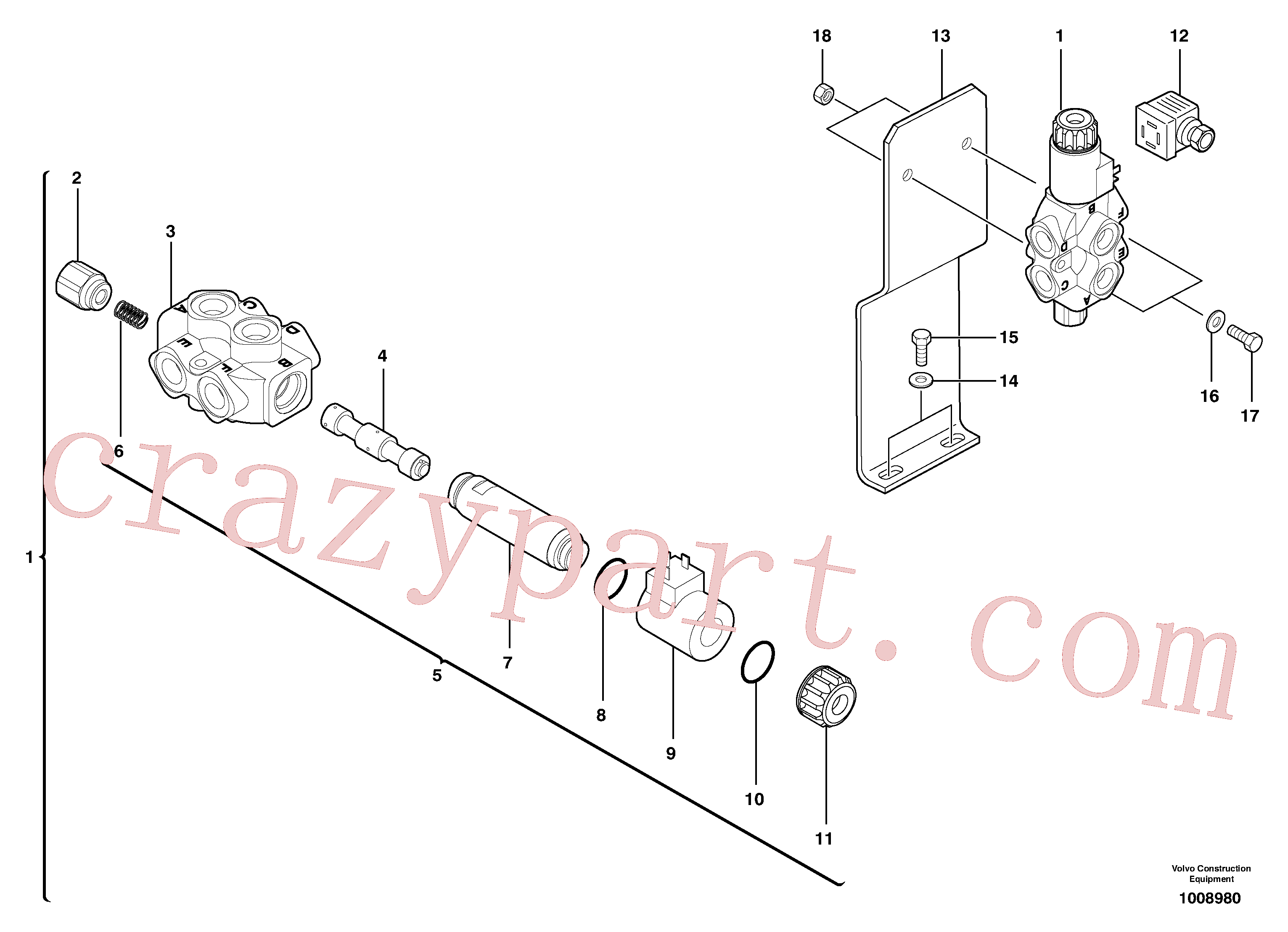 PJ4380050 for Volvo Slewing-offset selector switch ( for valve )(1008980 assembly)