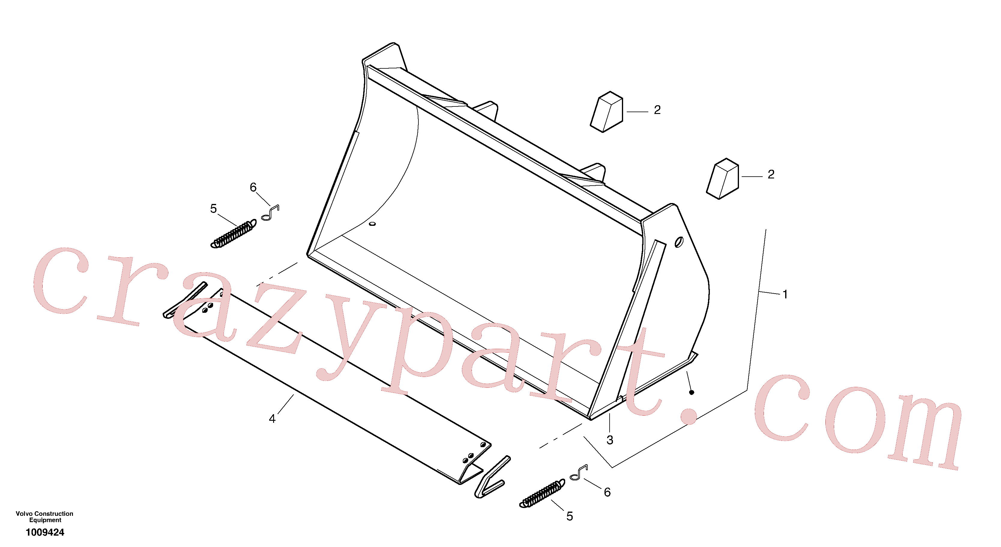 ZM4418229 for Volvo Bucket without teeth(1009424 assembly)