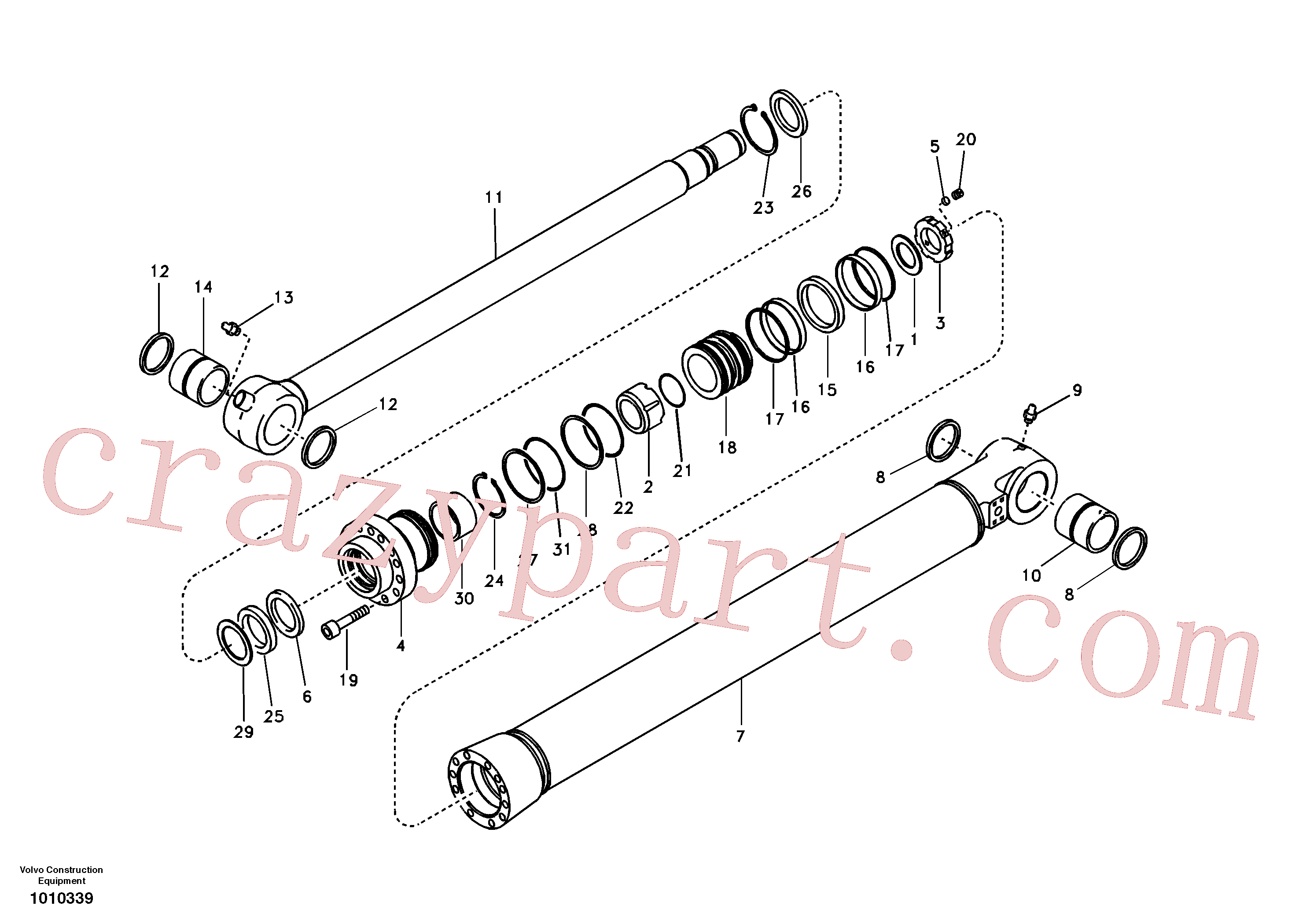 VOE14522900 for Volvo Bucket cylinder, long reach(1010339 assembly)