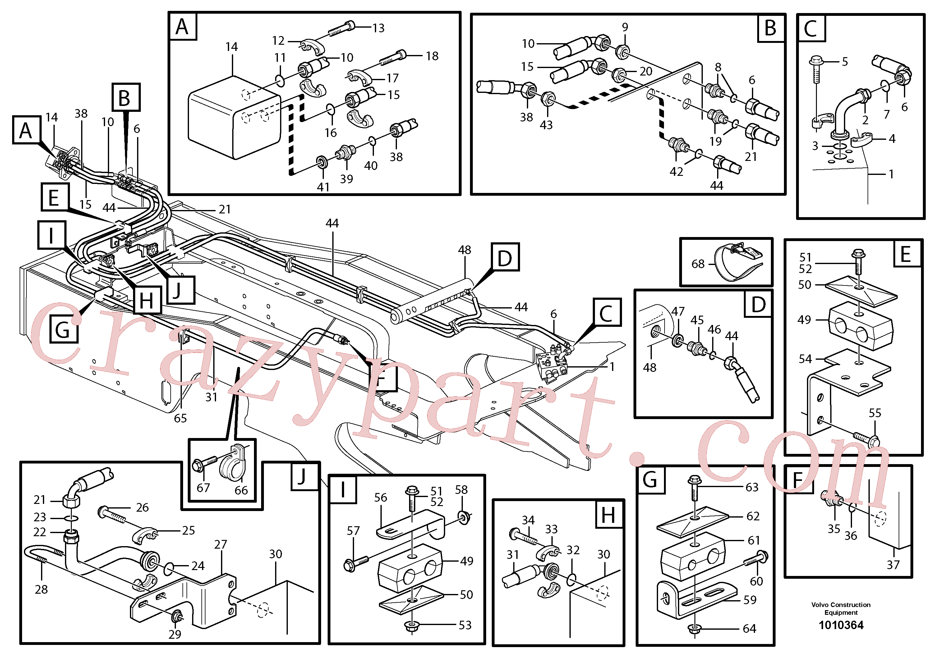 PJ5480030 for Volvo Hoses to fan drive(1010364 assembly)