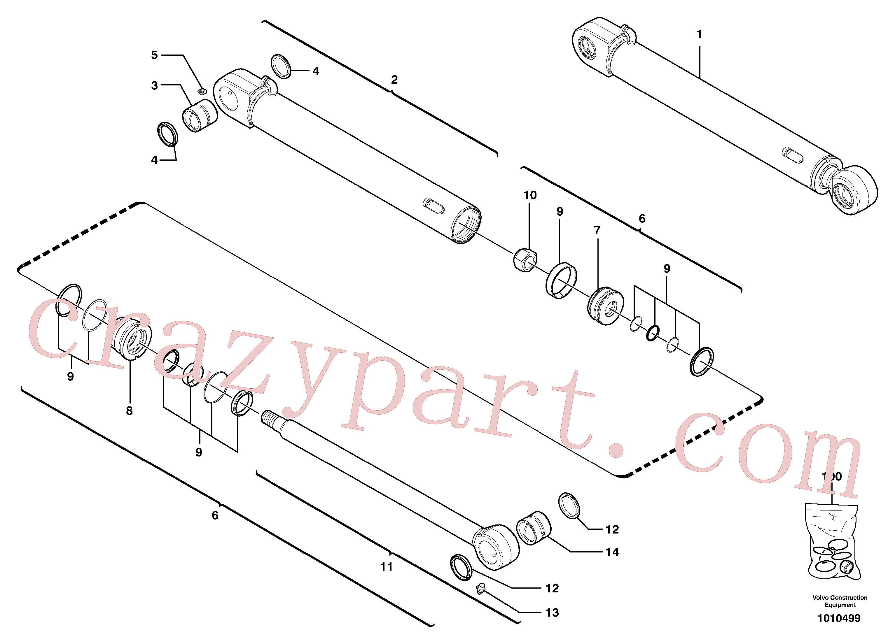 VOE15174598 for Volvo Bucket cylinder(1010499 assembly)