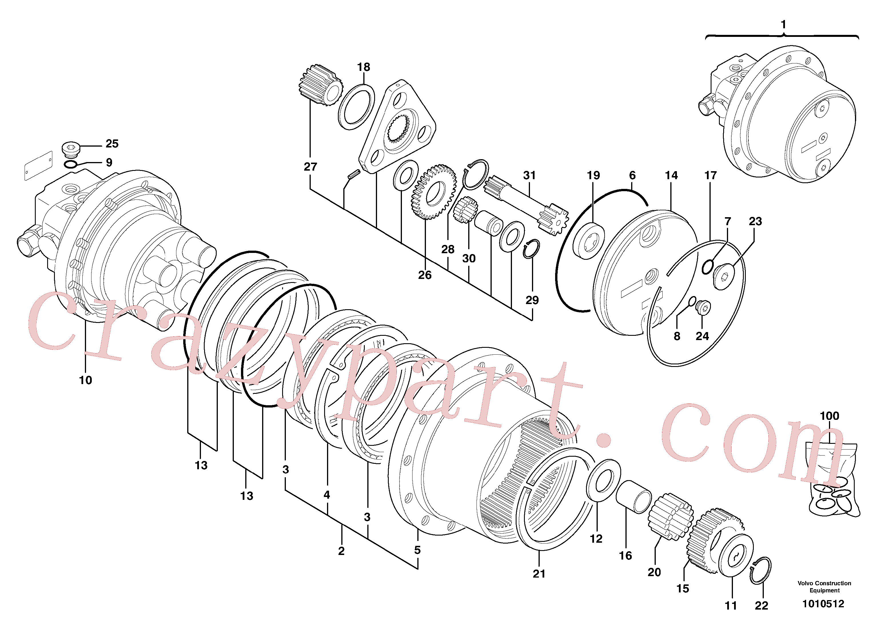PJ7414584 for Volvo Hydraulic travelling motor(1010512 assembly)