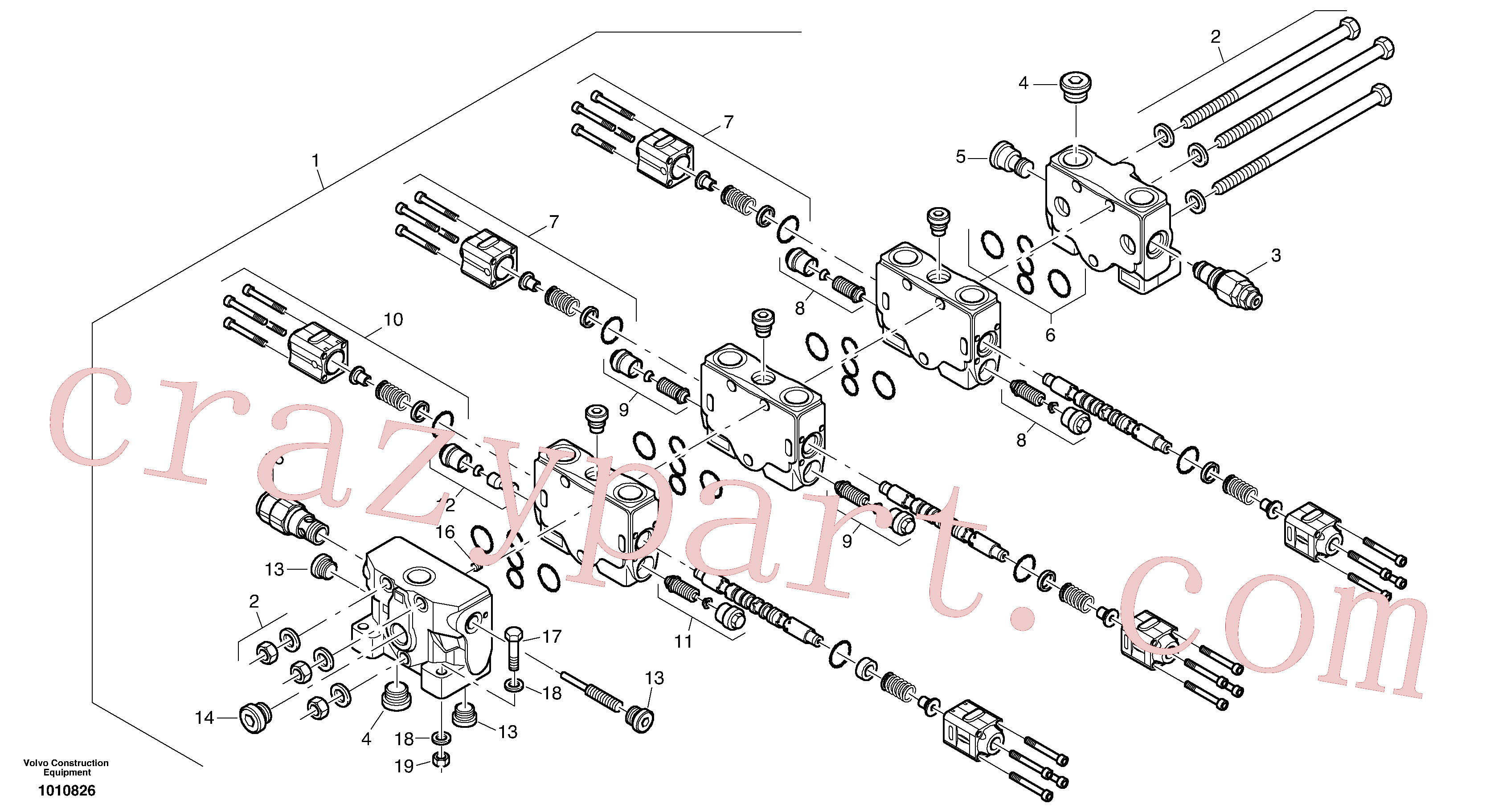 VOE11370781 for Volvo Control valve(1010826 assembly)