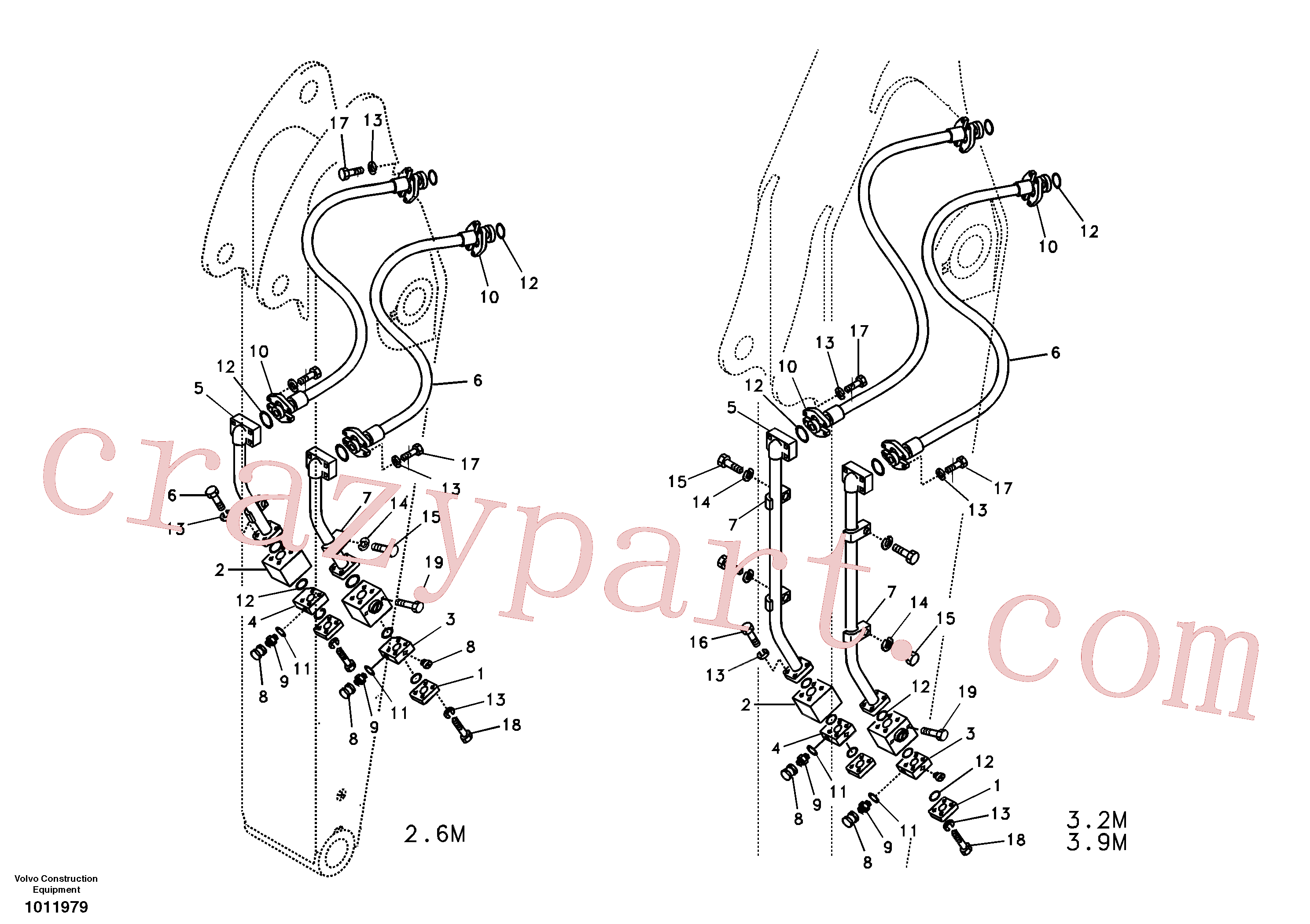 VOE984360 for Volvo Working hydraulic, hammer and shear for dipper arm(1011979 assembly)