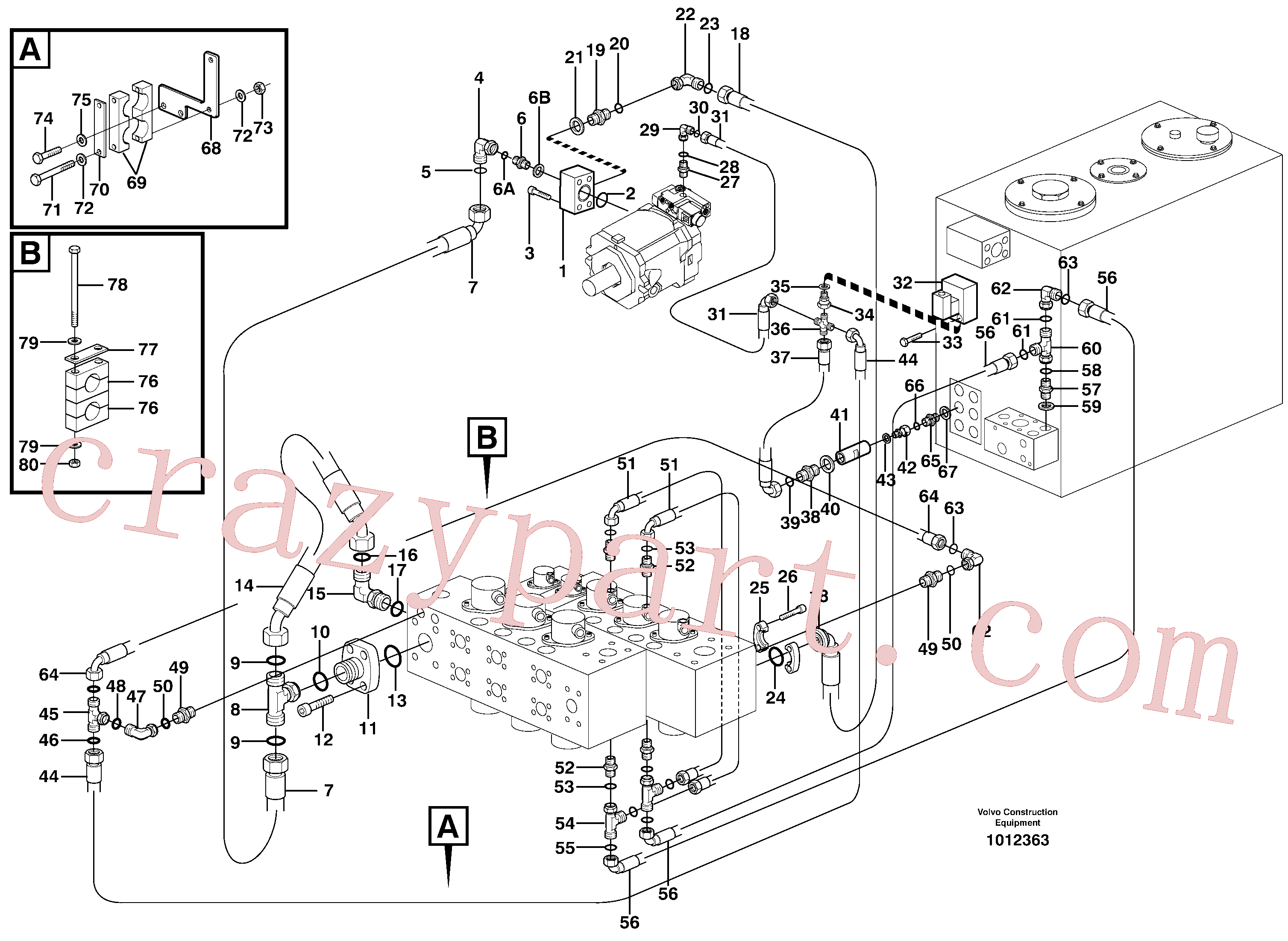VOE14371643 for Volvo Hydraulic system, feed line(1012363 assembly)