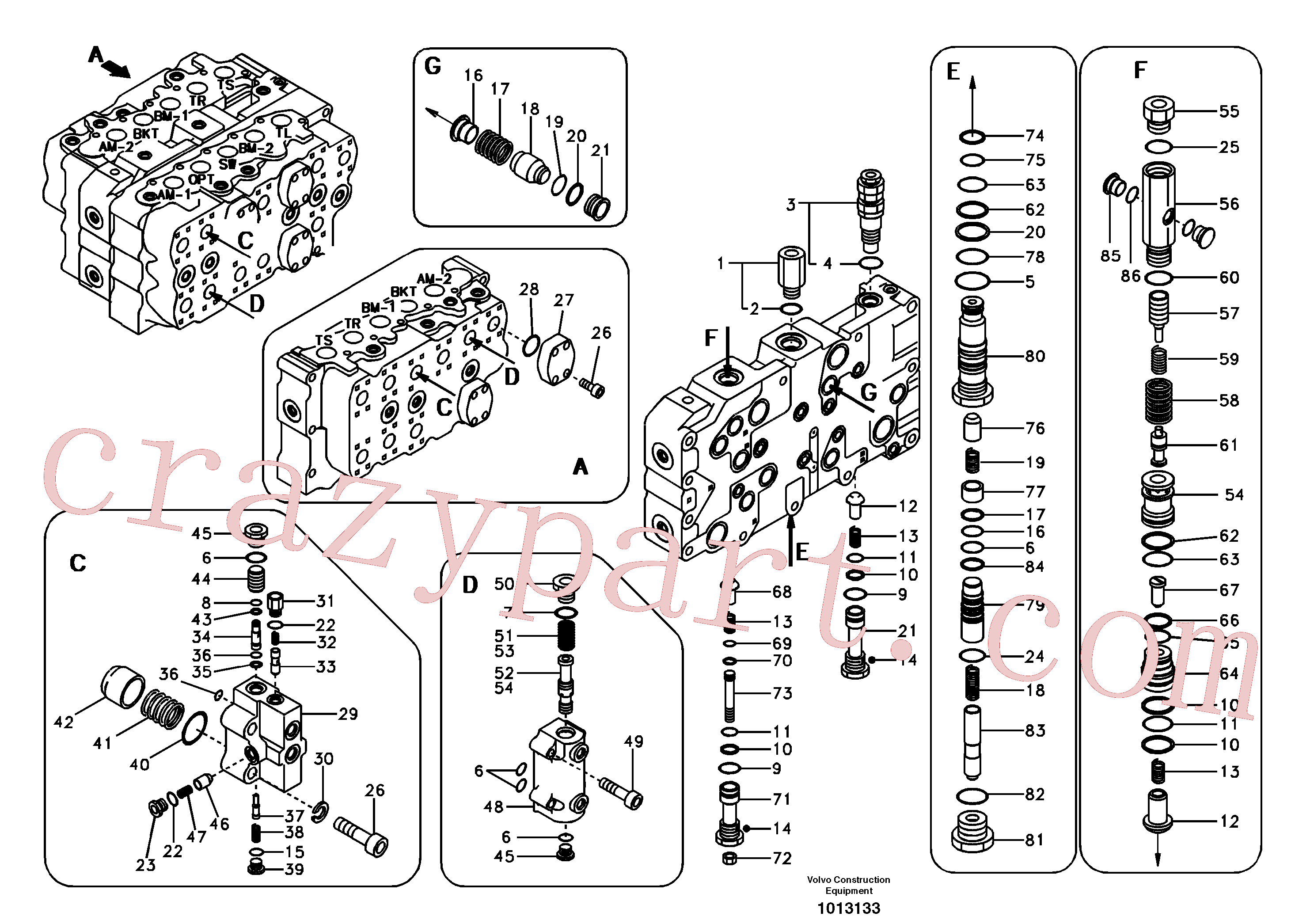 SA7273-10630 for Volvo Main control valve, boom and dipper arm holding.(1013133 assembly)