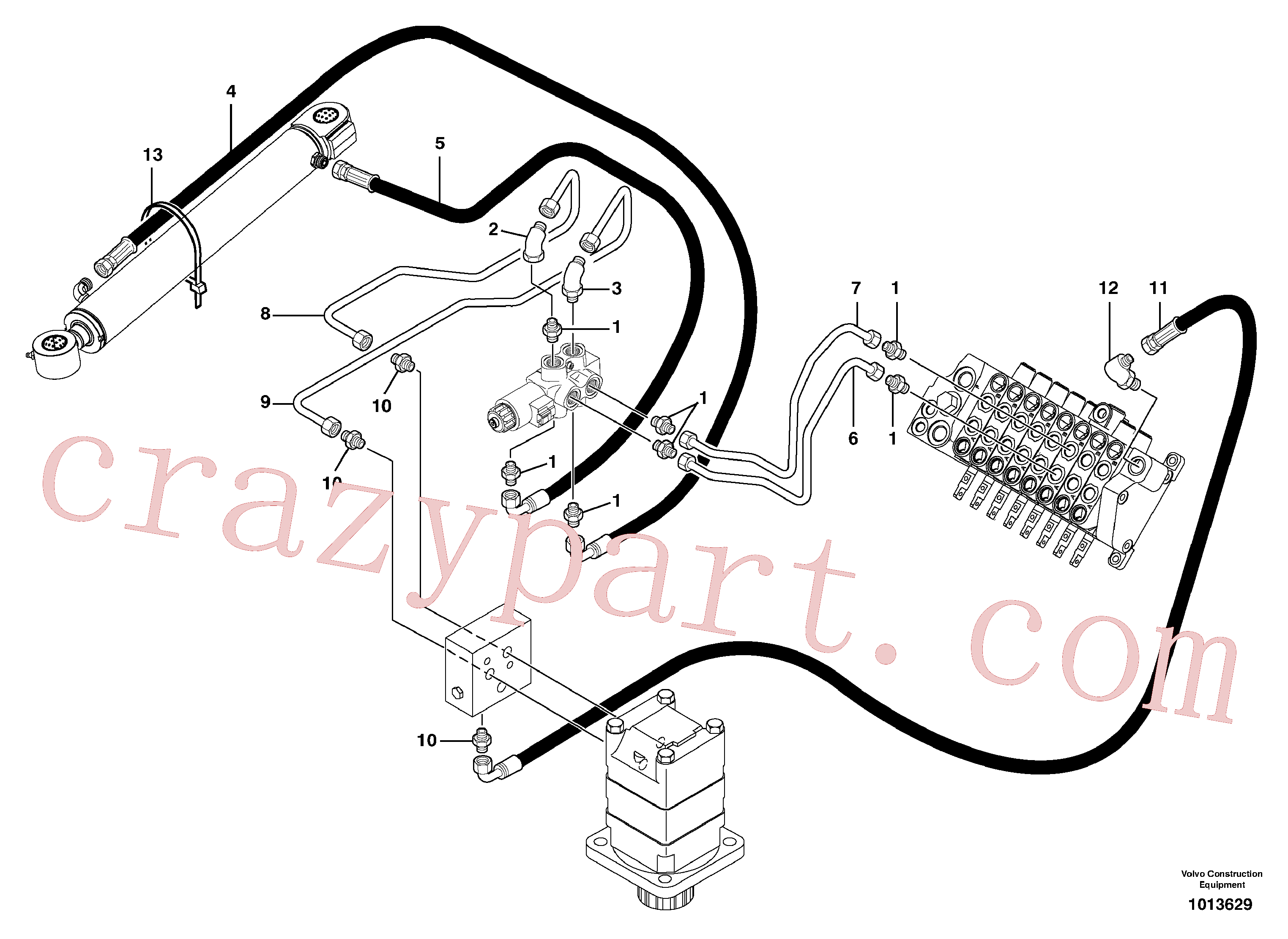 VOE11800142 for Volvo Hydr. circuit. ( boom slewing / offset )(1013629 assembly)