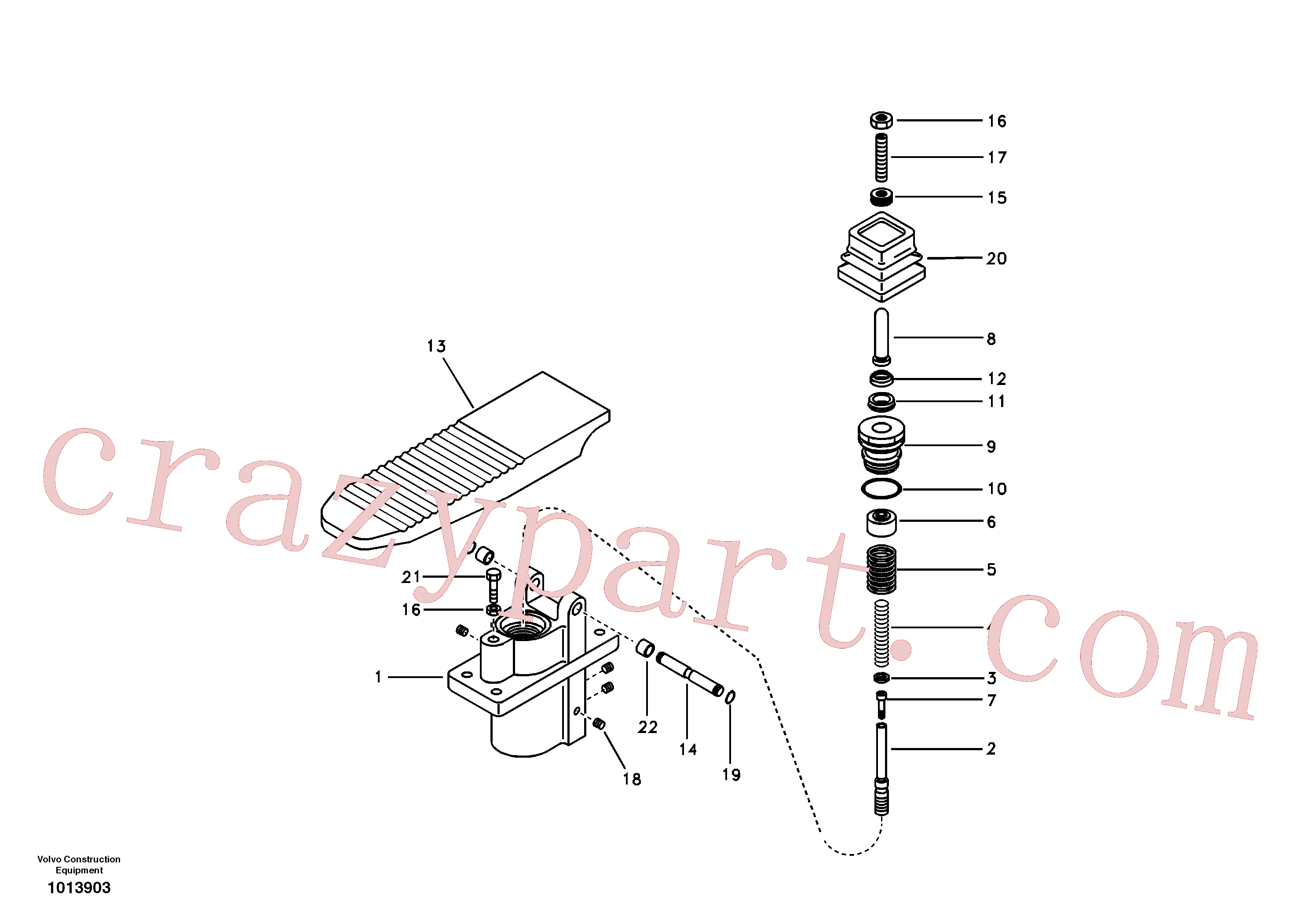 SA7263-00171 for Volvo Remote control valve pedal, travel motor(1013903 assembly)