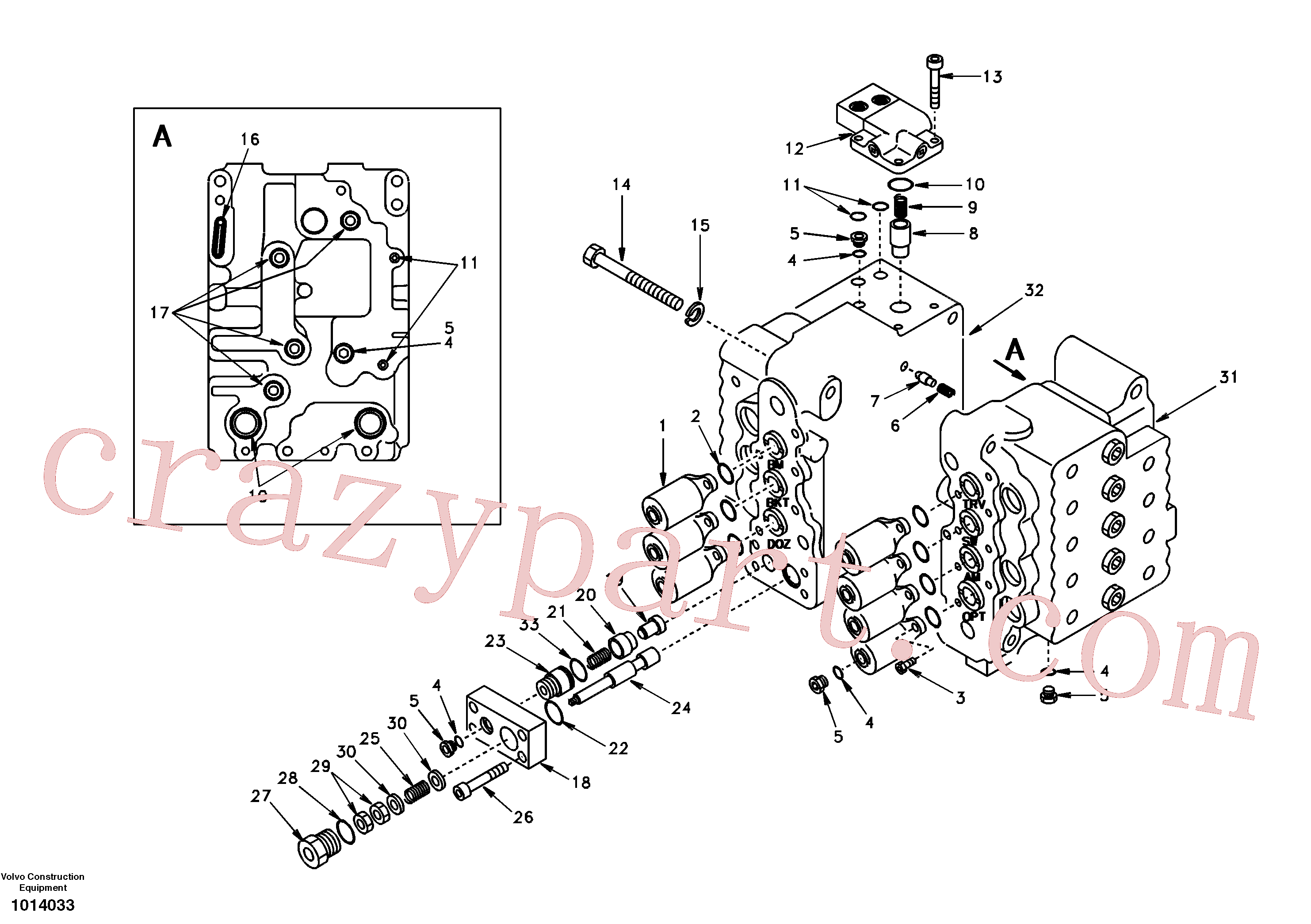 SA8230-10450 for Volvo Control valve with fitting parts.(1014033 assembly)