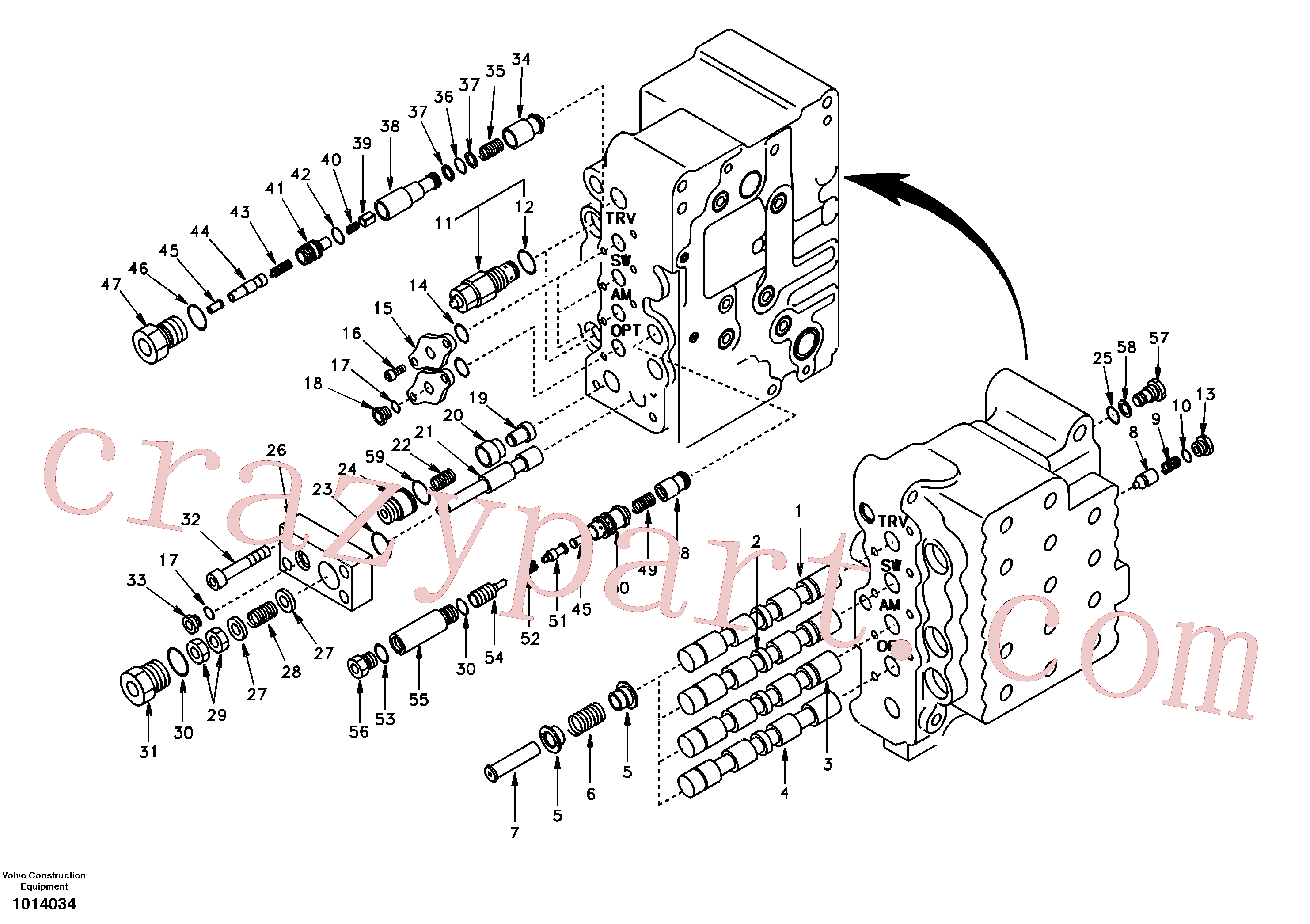SA9512-01011 for Volvo Main control valve, swing and option and dipper arm and travel Lh(1014034 assembly)