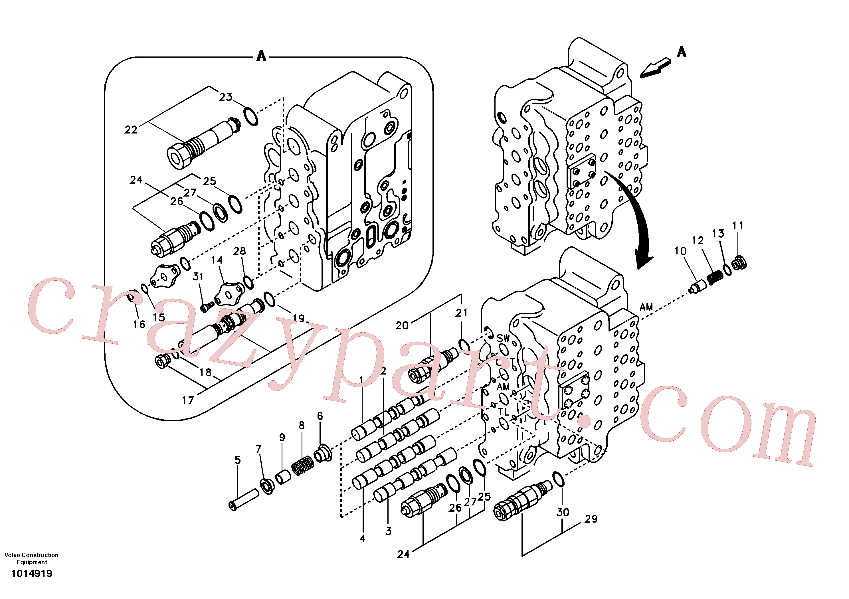 SA7273-10390 for Volvo Main control valve, swing and option and dipper arm and travel Lh(1014919 assembly)
