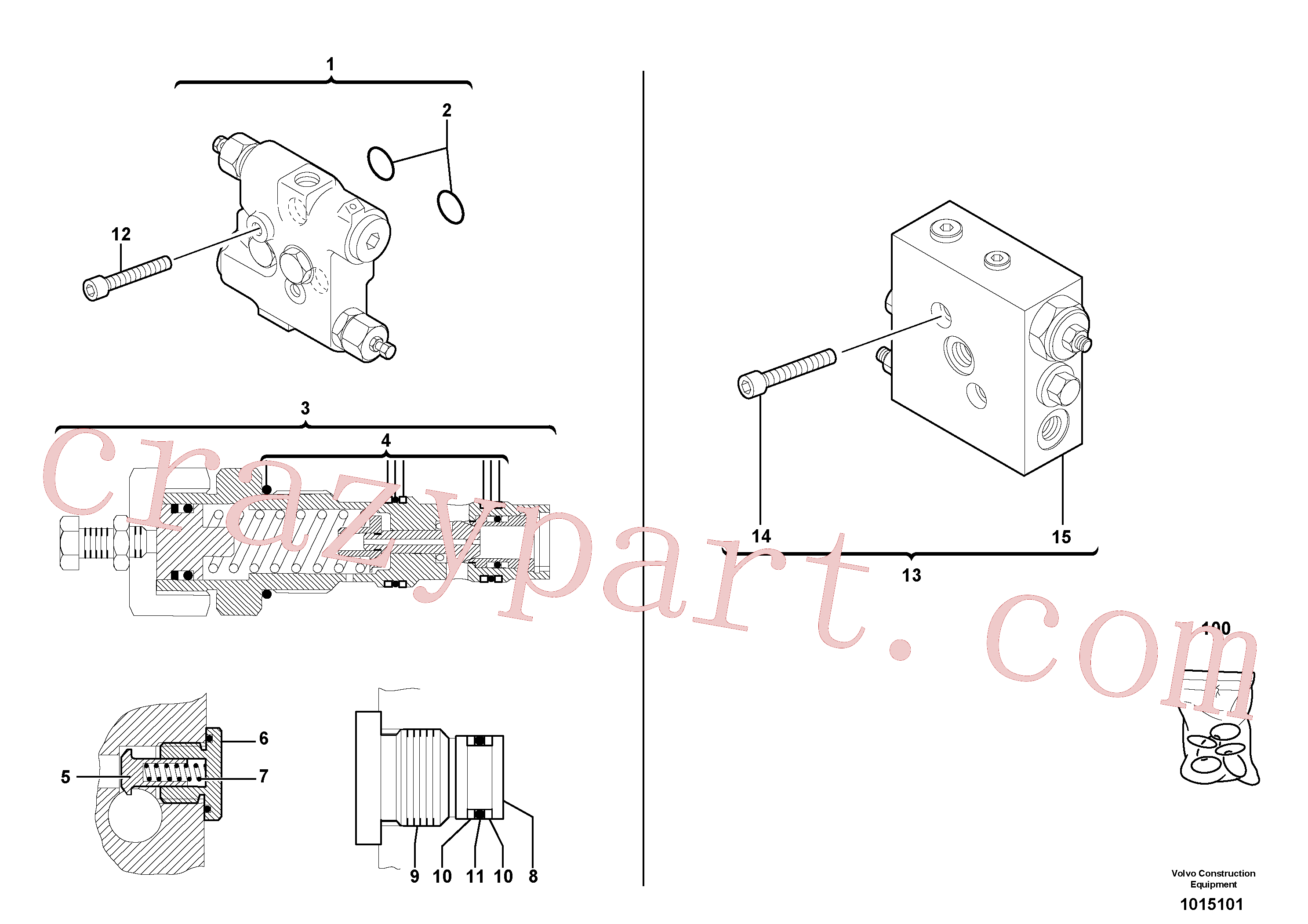 VOE11711404 for Volvo Balancing valve ( slewing )(1015101 assembly)