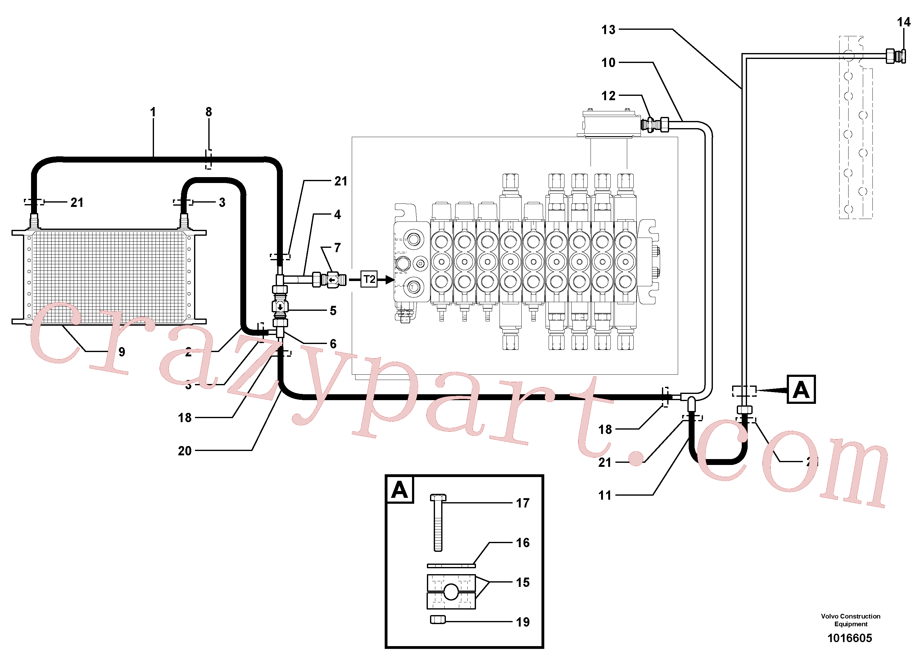 PJ4196081 for Volvo Hydr. circuit. ( Oil cooler )(1016605 assembly)