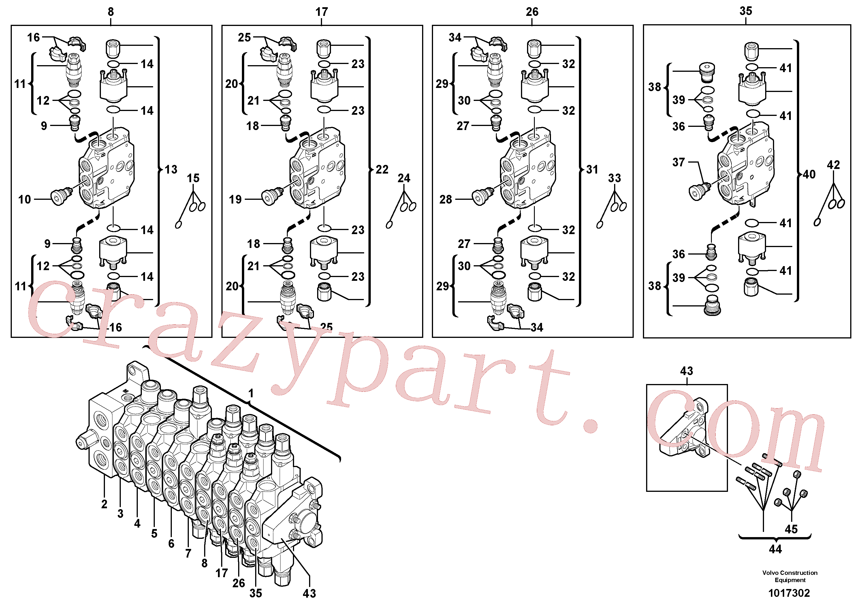 VOE11715567 for Volvo Control valve : 9 spools(1017302 assembly)