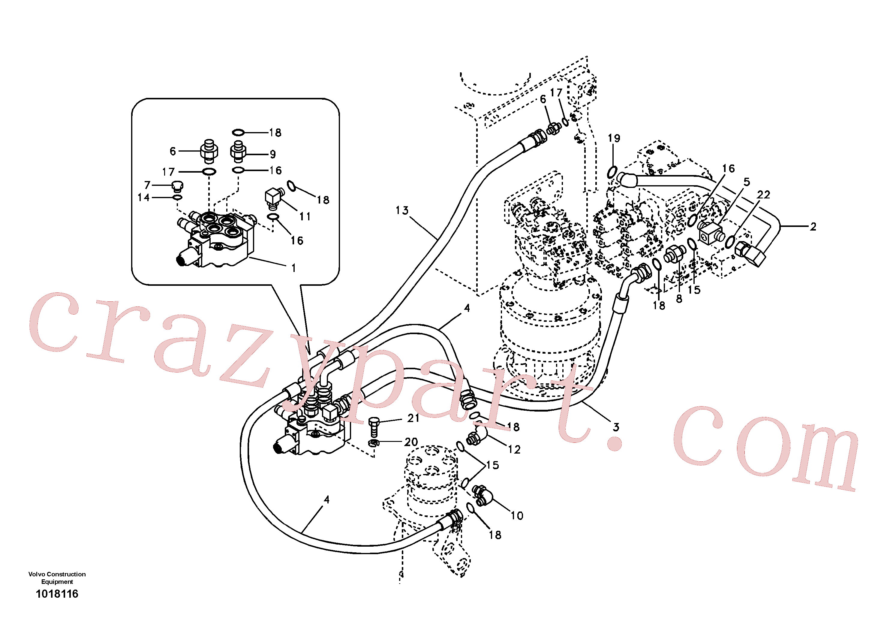 SA9411-96230 for Volvo Working hydraulic, dozer blade(1018116 assembly)