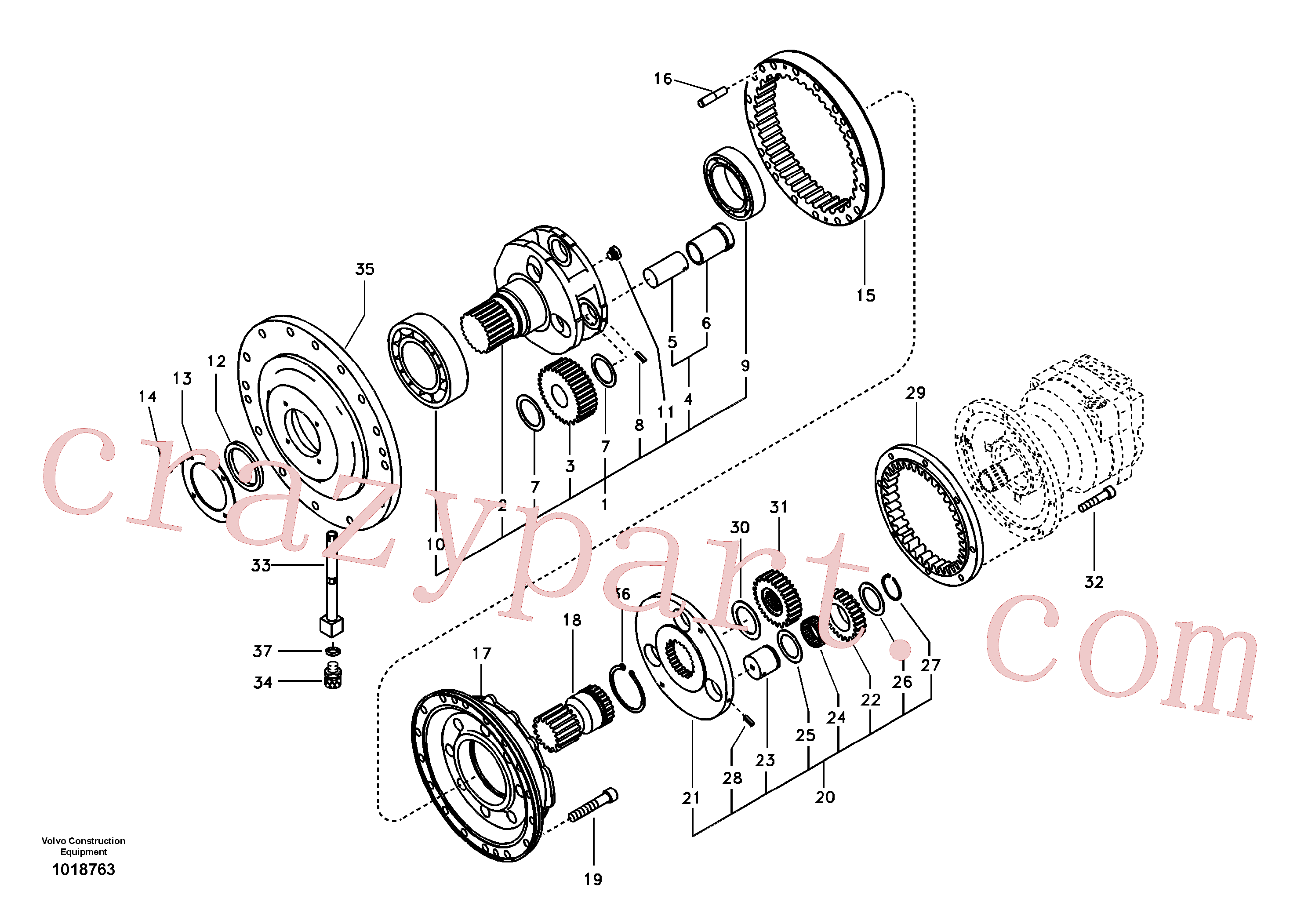 SA1036-00550 for Volvo Swing gearbox(1018763 assembly)