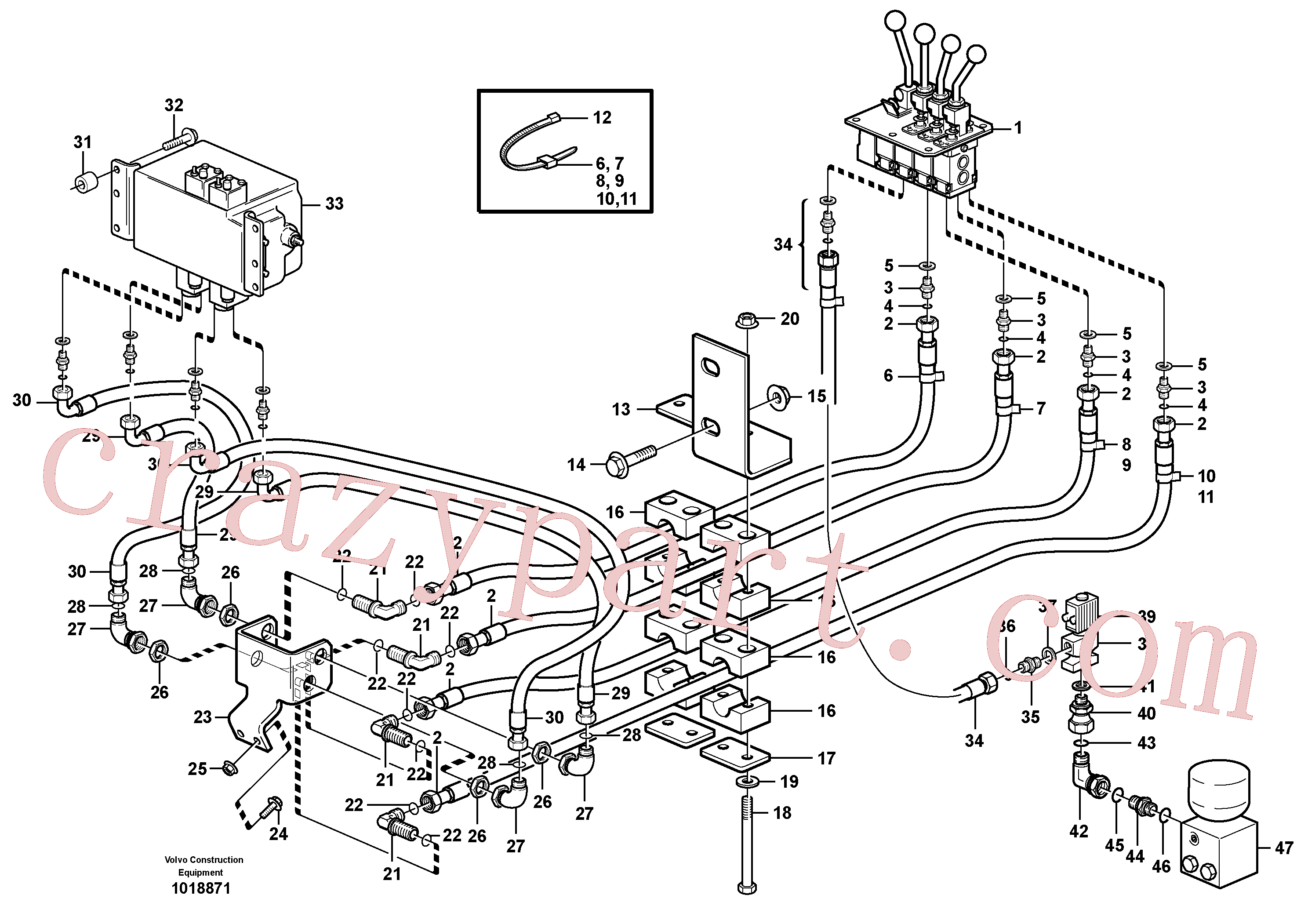 VOE11003047 for Volvo Servo - hydraulic. 3rd and 4th function.(1018871 assembly)