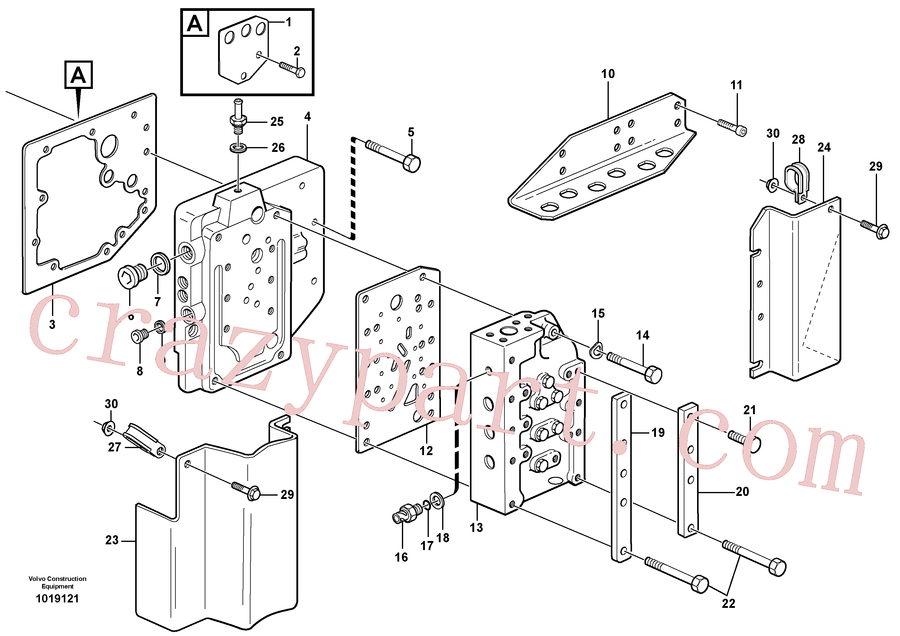 VOE955304 for Volvo Gear selector valve with fitting parts(1019121 assembly)