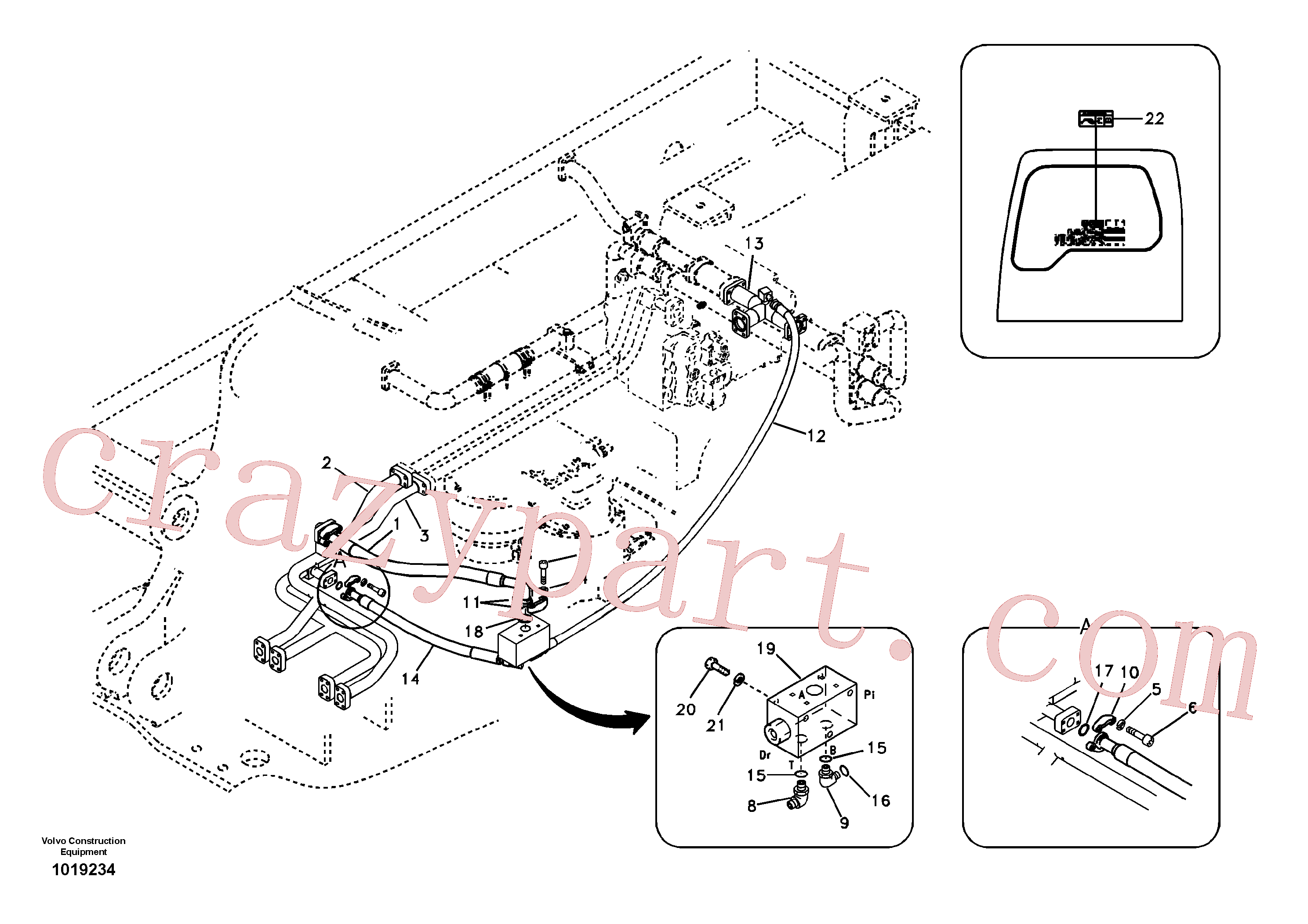 VOE14578640 for Volvo Hydraulic system, control valve to boom and swing(1019234 assembly)