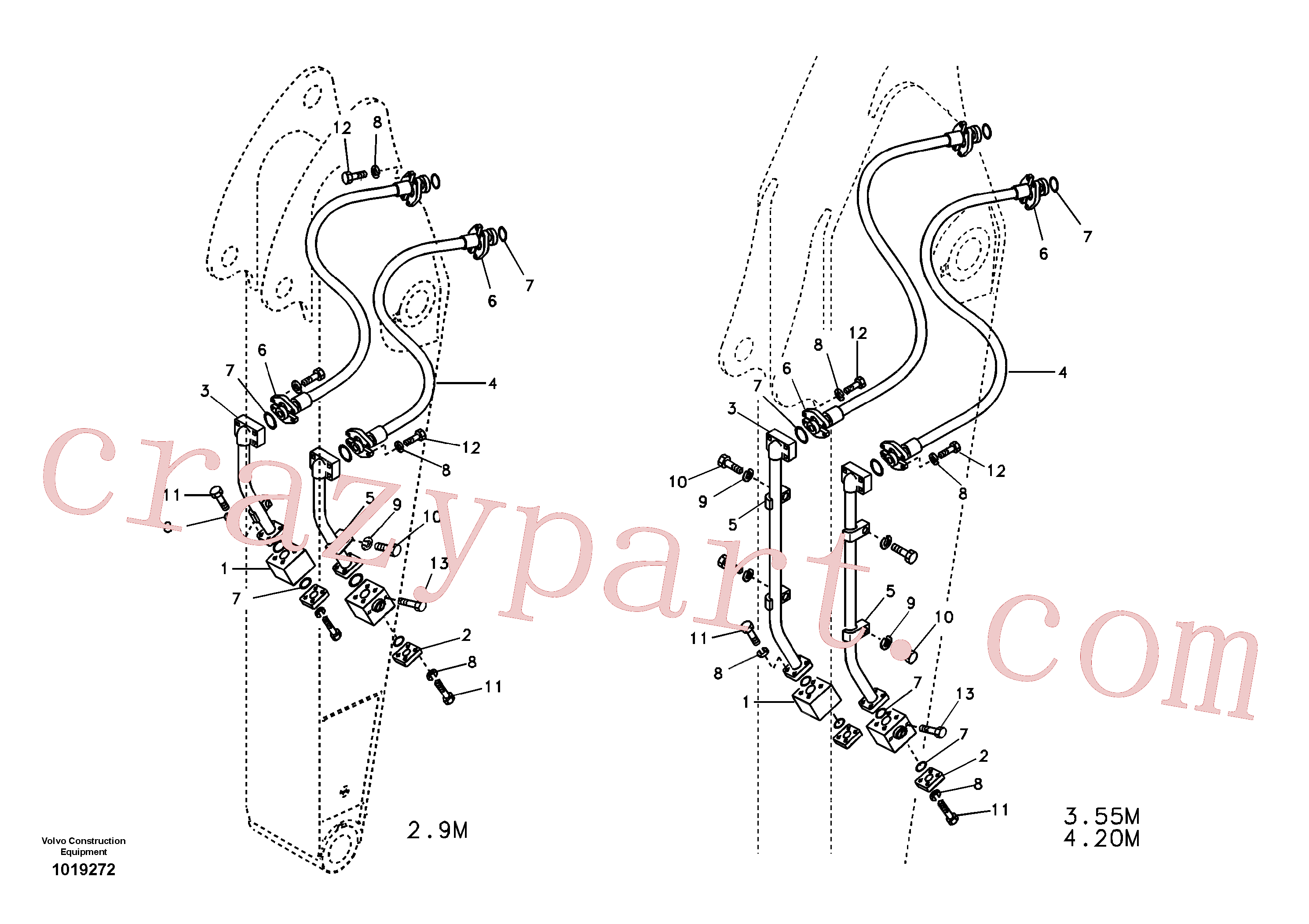 VOE984360 for Volvo Working hydraulic, hammer and shear for dipper arm(1019272 assembly)
