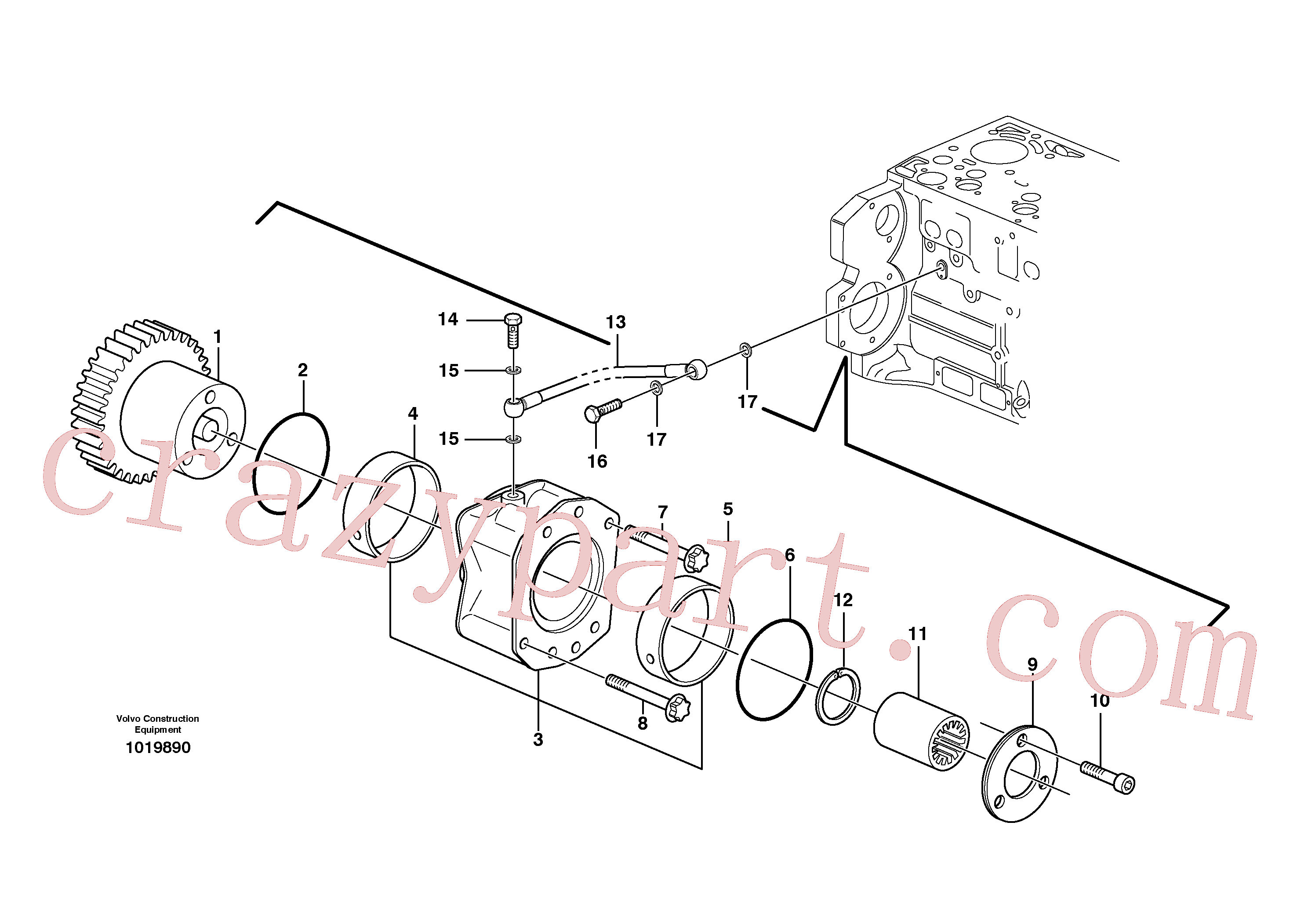 VOE20512957 for Volvo Pump drive power take-off(1019890 assembly)