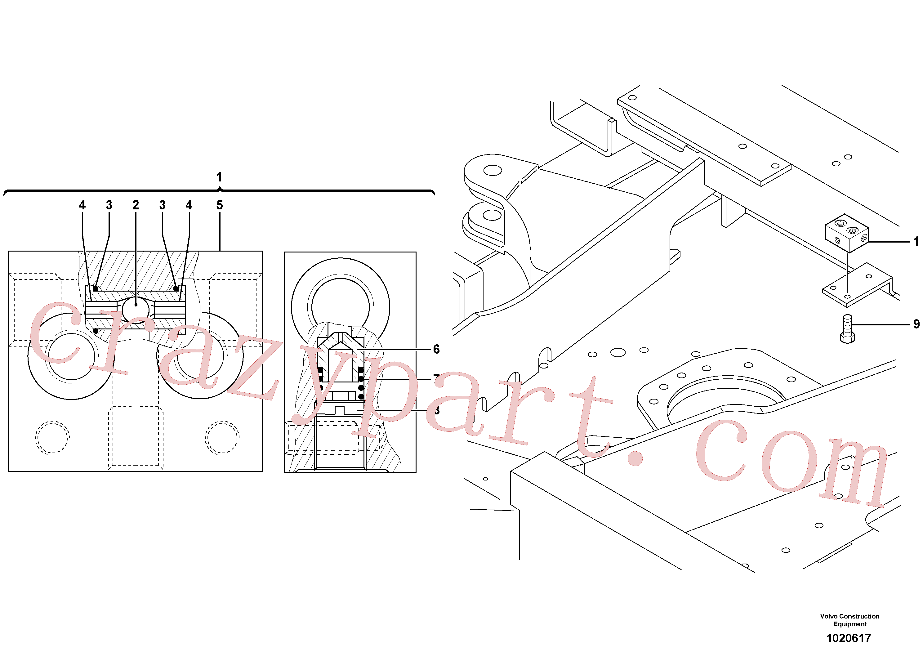 PJ6090037 for Volvo Slewing block(1020617 assembly)