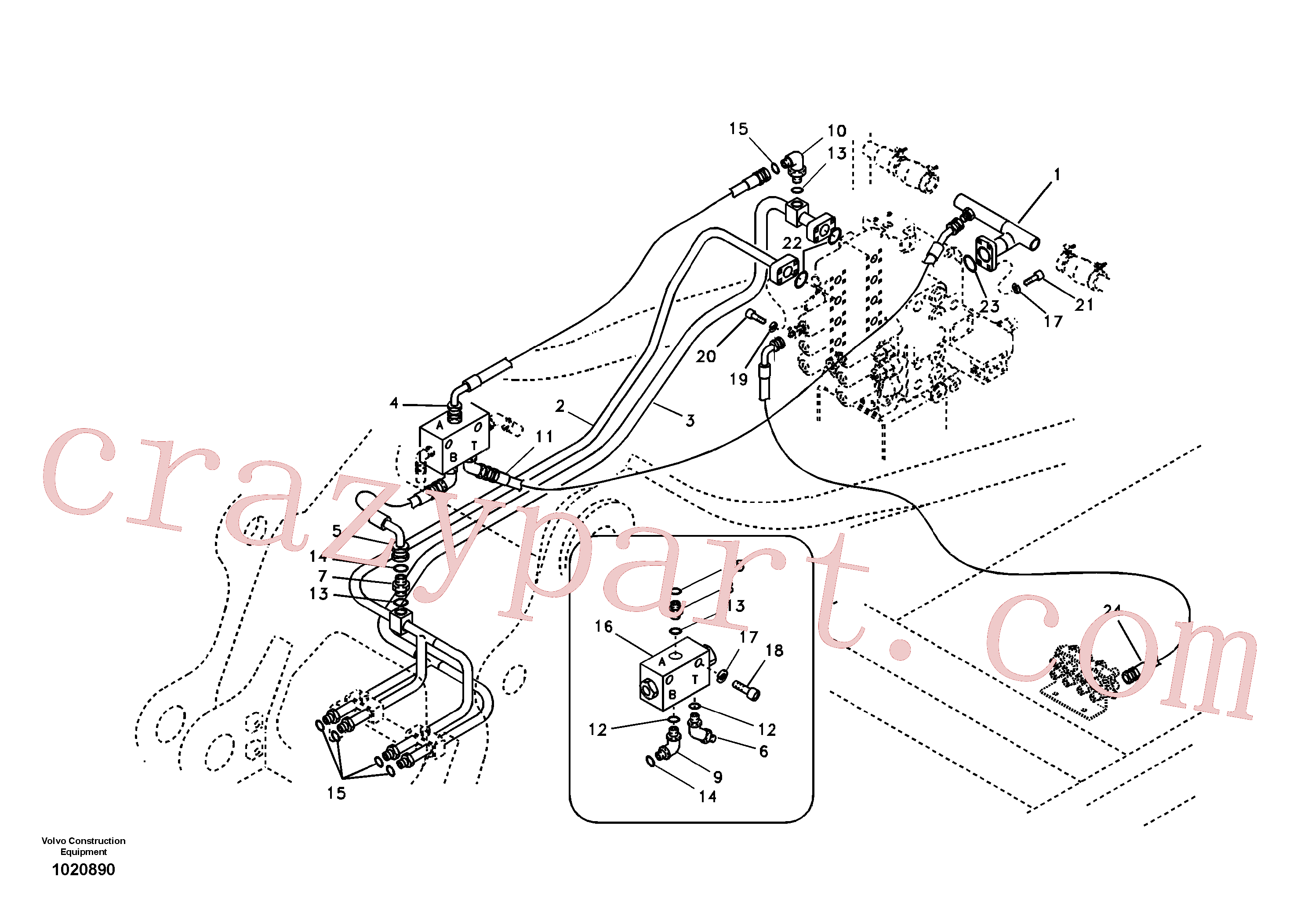 VOE14531546 for Volvo Hydraulic system, control valve to boom and swing(1020890 assembly)