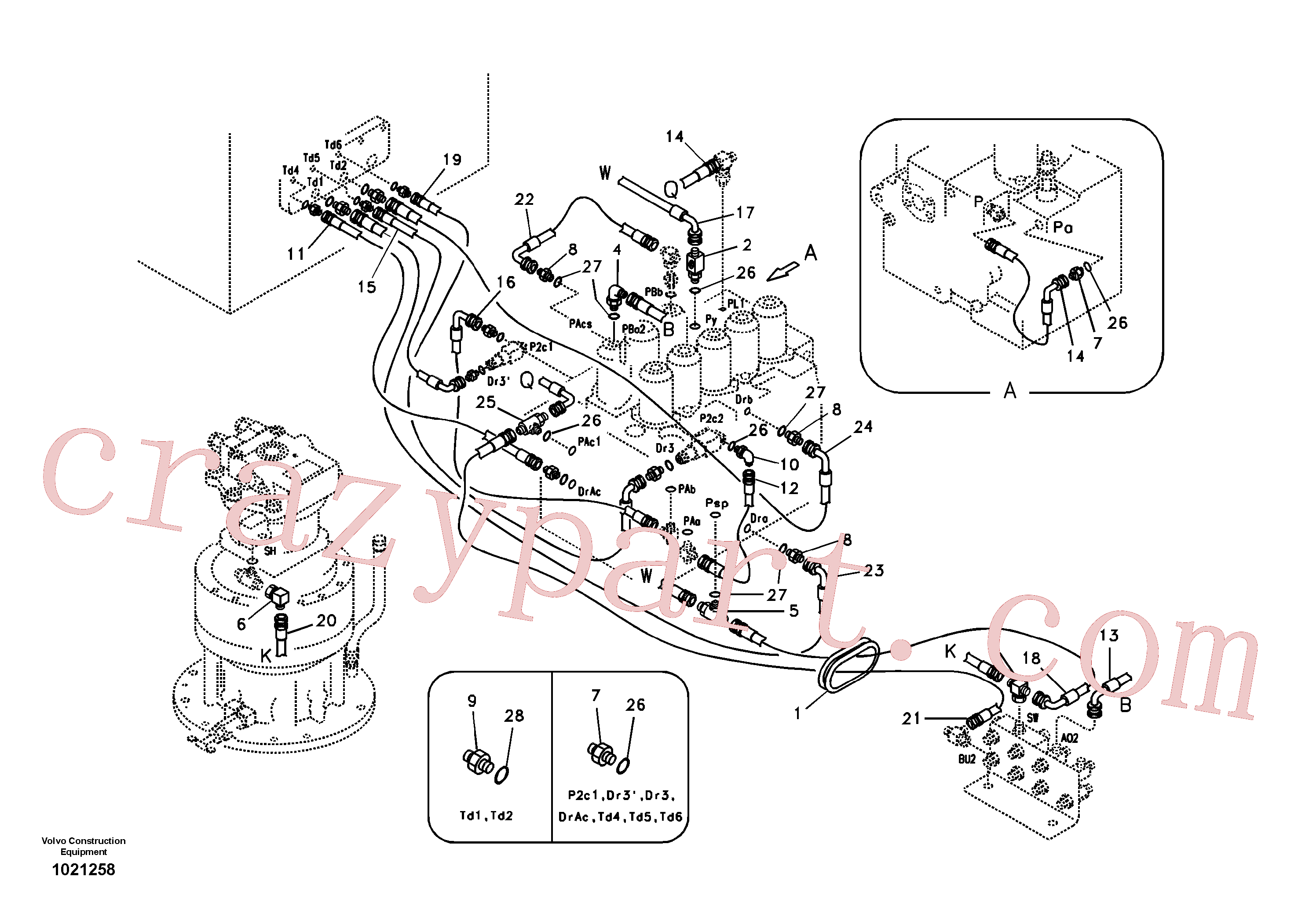 SA9451-03212 for Volvo Servo system, control valve piping.(1021258 assembly)