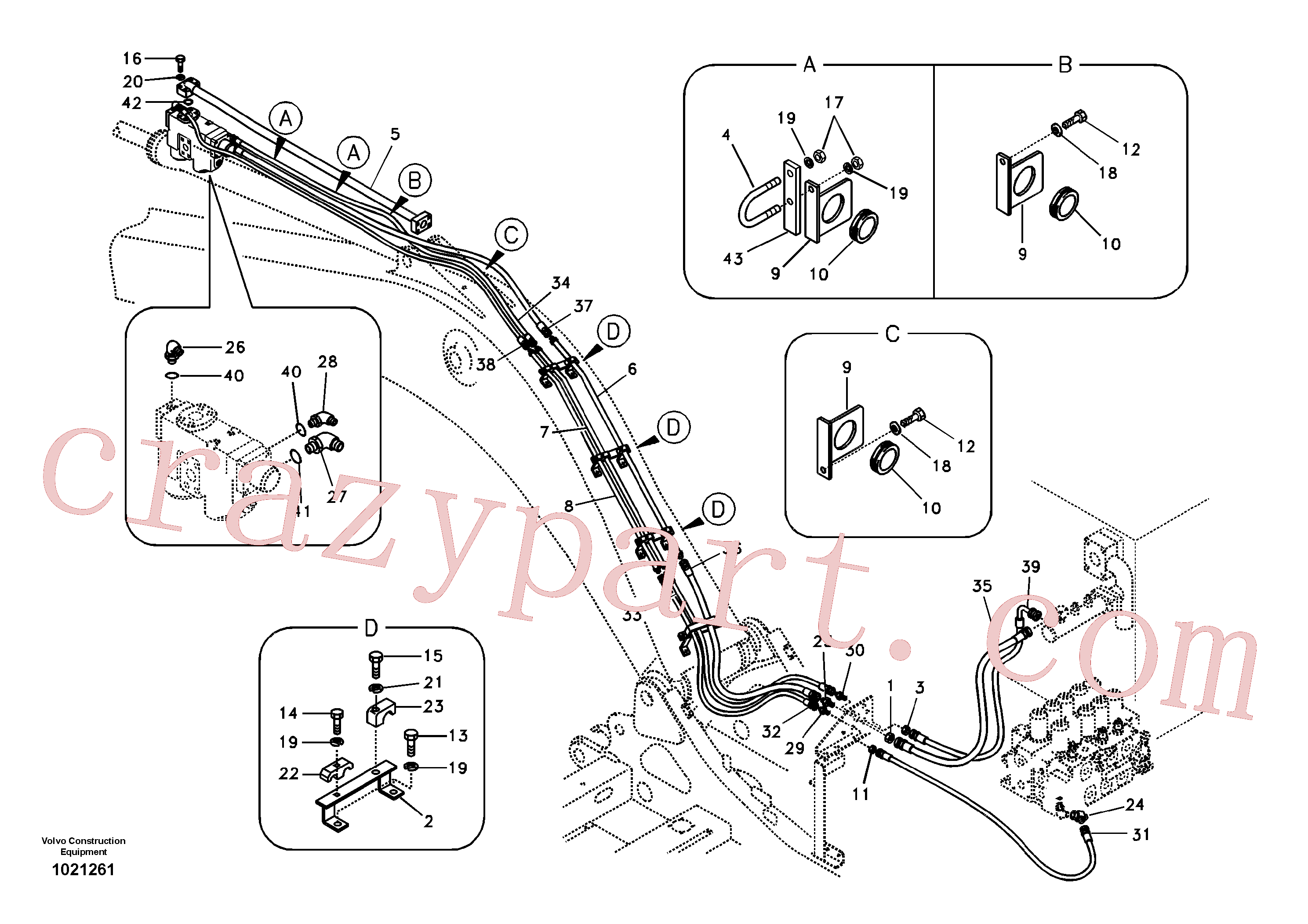SA1174-02740 for Volvo Working hydraulic, dipper arm rupture(1021261 assembly)